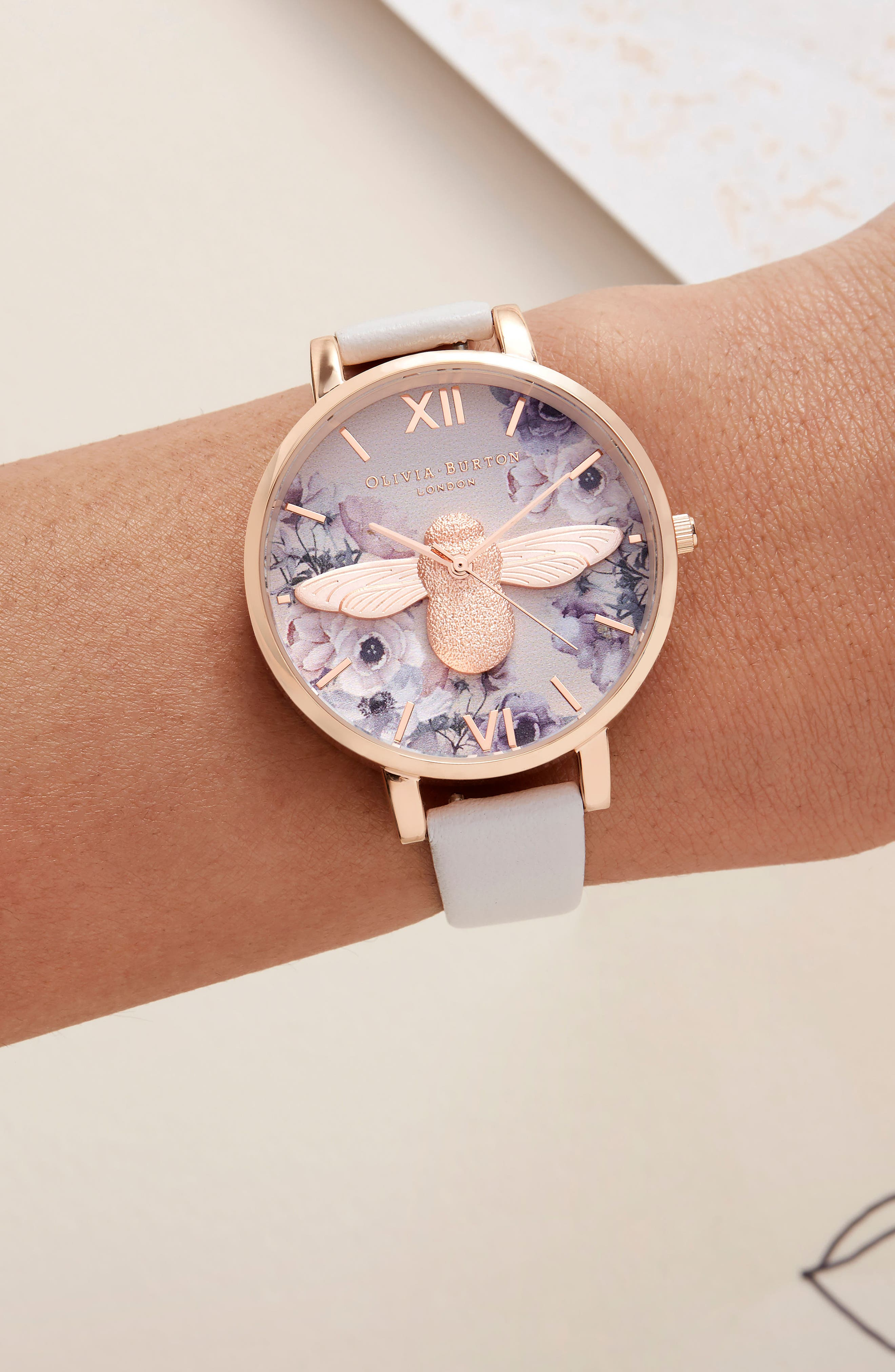 Watercolor Floral Leather Strap Watch, 38mm,                             Alternate thumbnail 6, color,                             BLUSH/ BEE/ ROSE GOLD