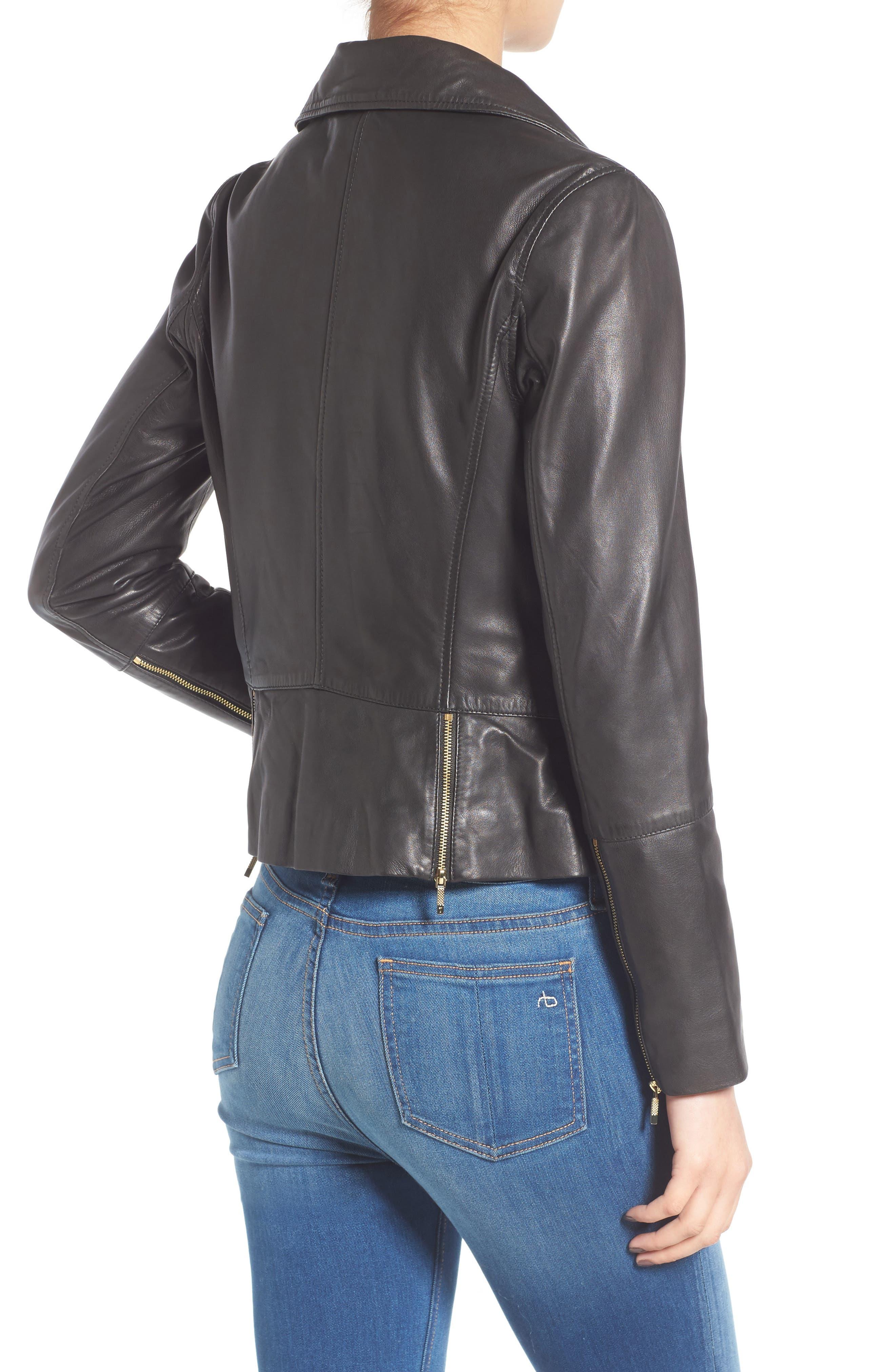 Minimal Leather Biker Jacket,                             Alternate thumbnail 2, color,                             001