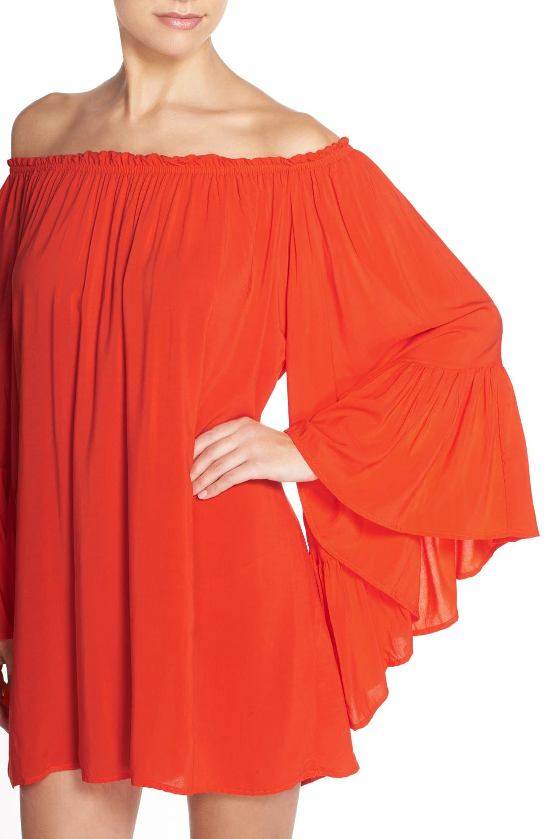 Bell Sleeve Cover-Up Tunic Dress,                             Alternate thumbnail 21, color,