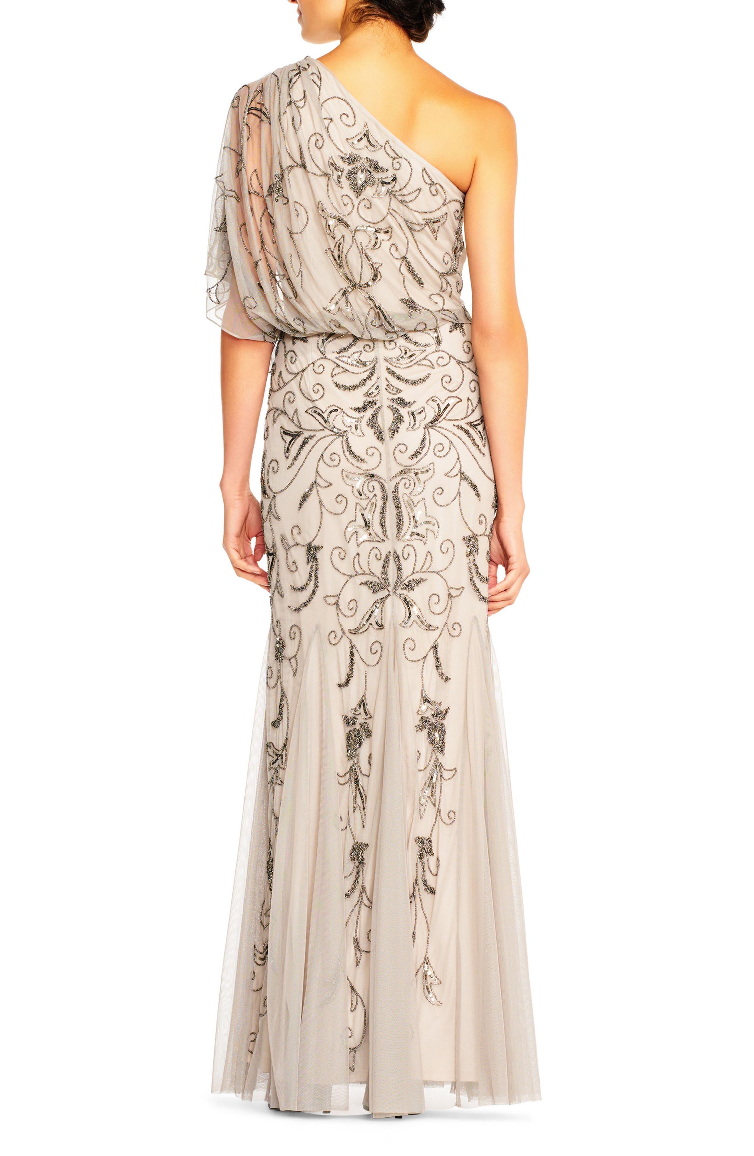 Beaded One-Shoulder Blouson Gown,                             Alternate thumbnail 2, color,                             036