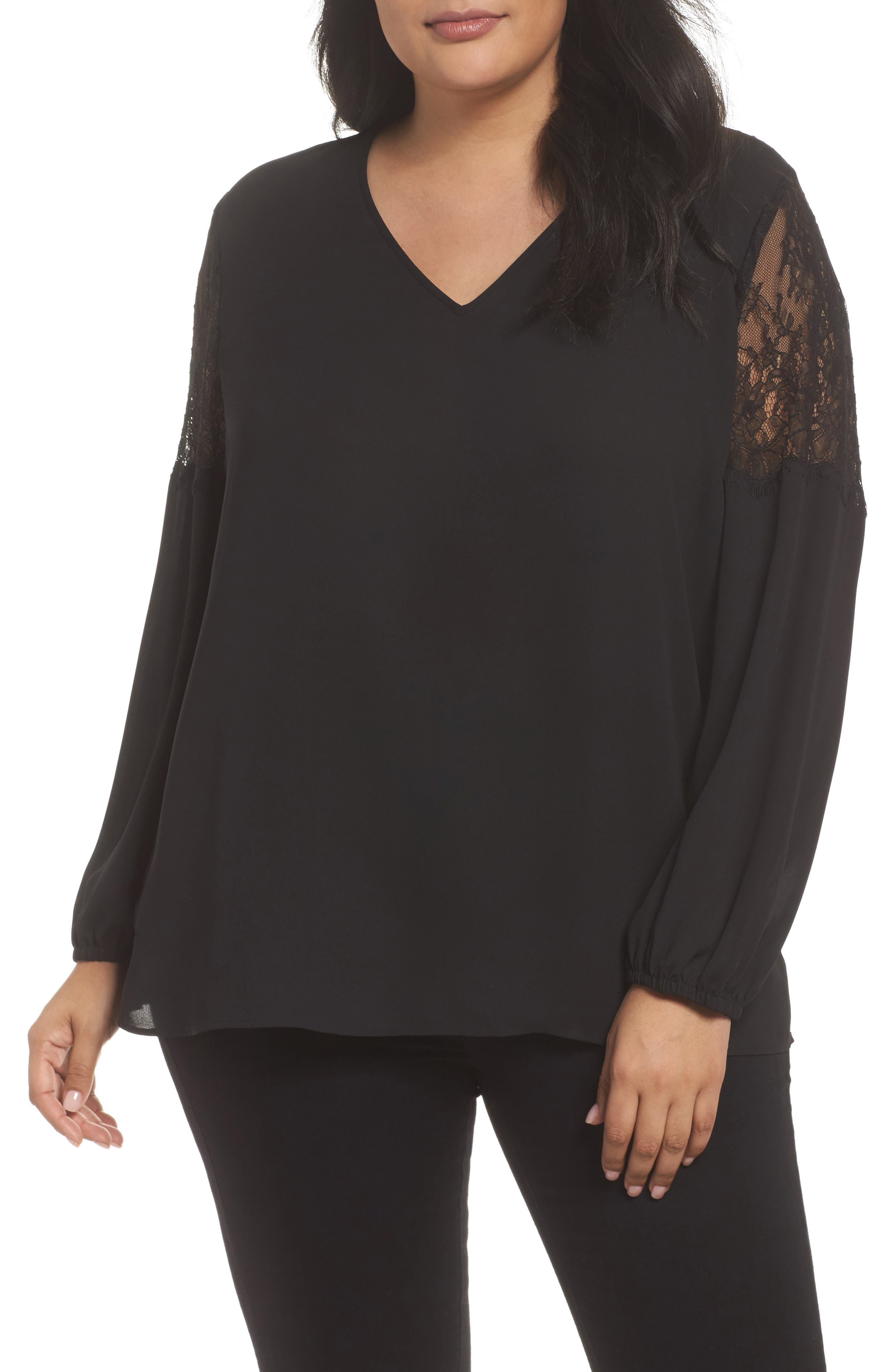 Lace Inset Sleeve Top,                             Main thumbnail 1, color,                             001