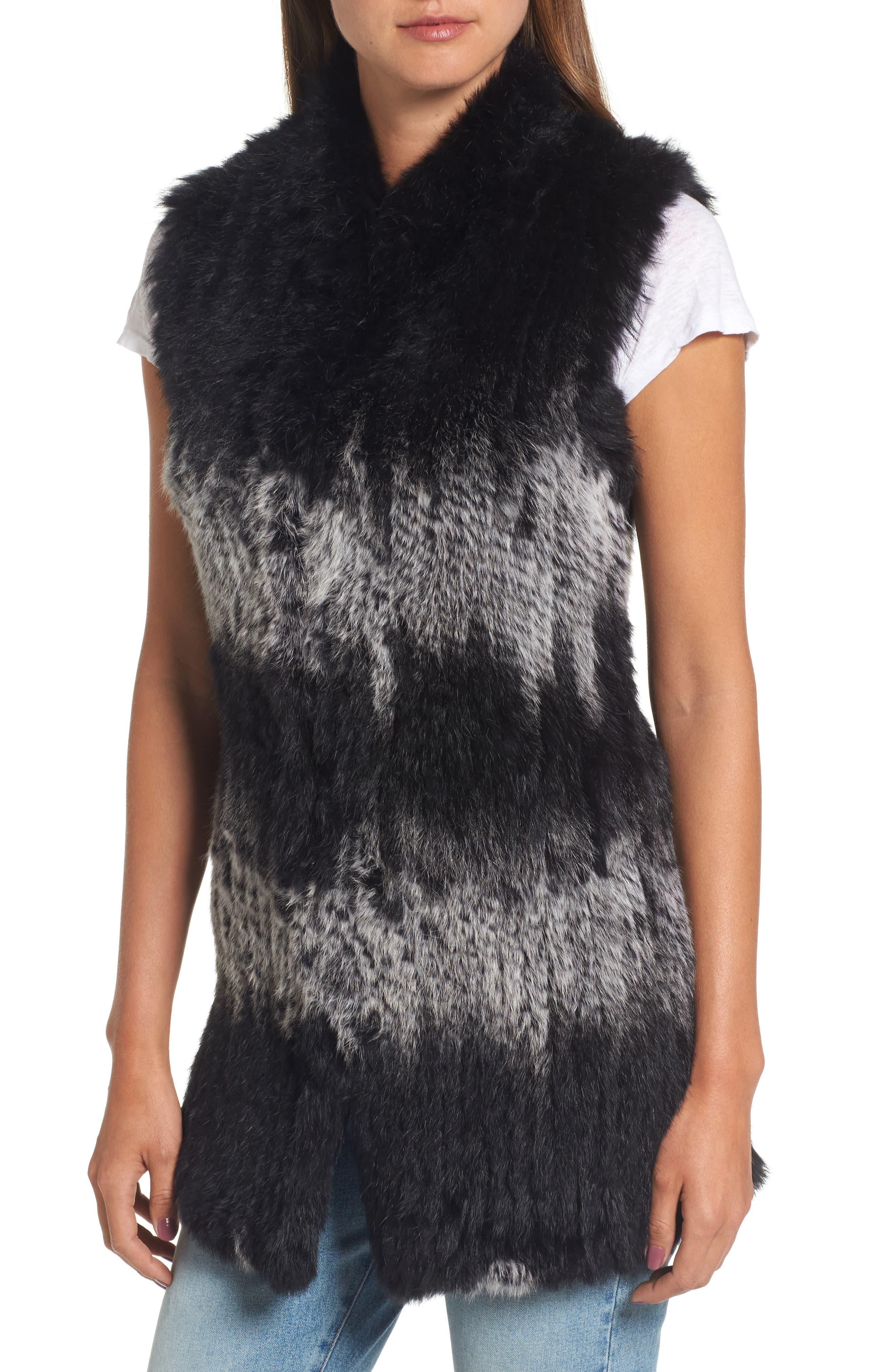 Stripe Genuine Rabbit Fur Vest,                             Alternate thumbnail 4, color,                             962