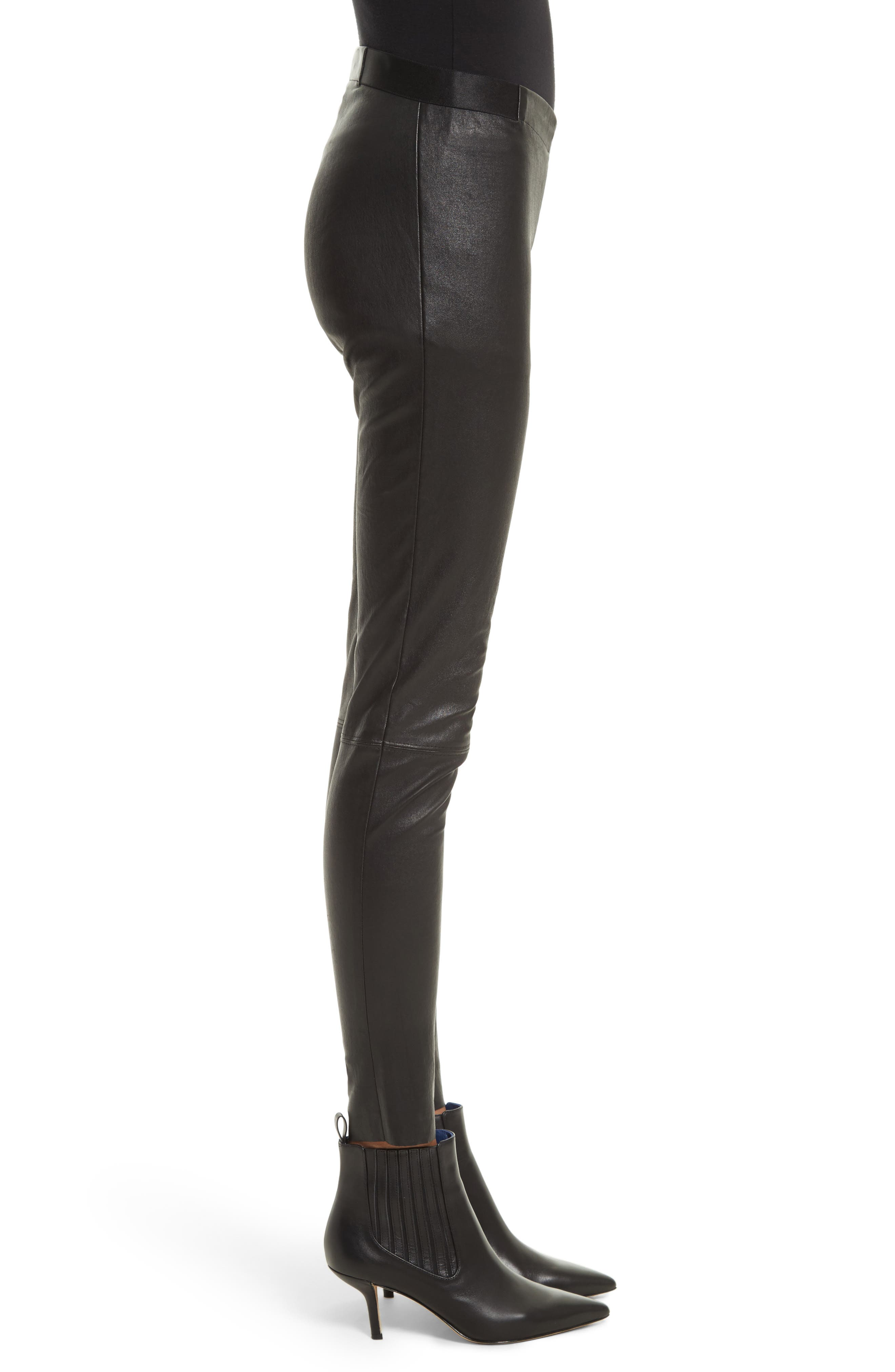 Leather Leggings,                             Alternate thumbnail 4, color,                             BLACK