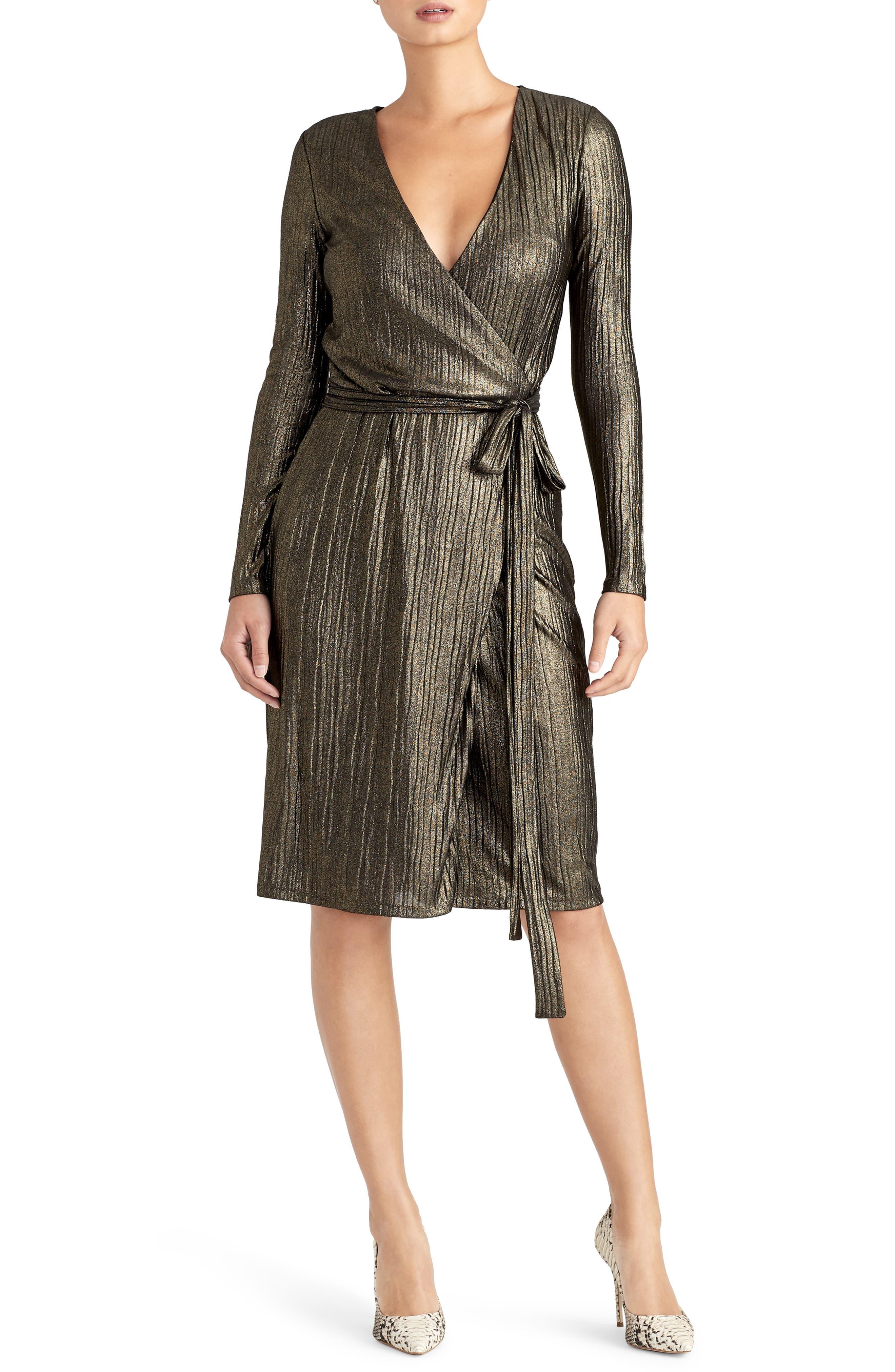 Pleated Metallic Wrap Dress,                         Main,                         color, BLACK/ GOLD