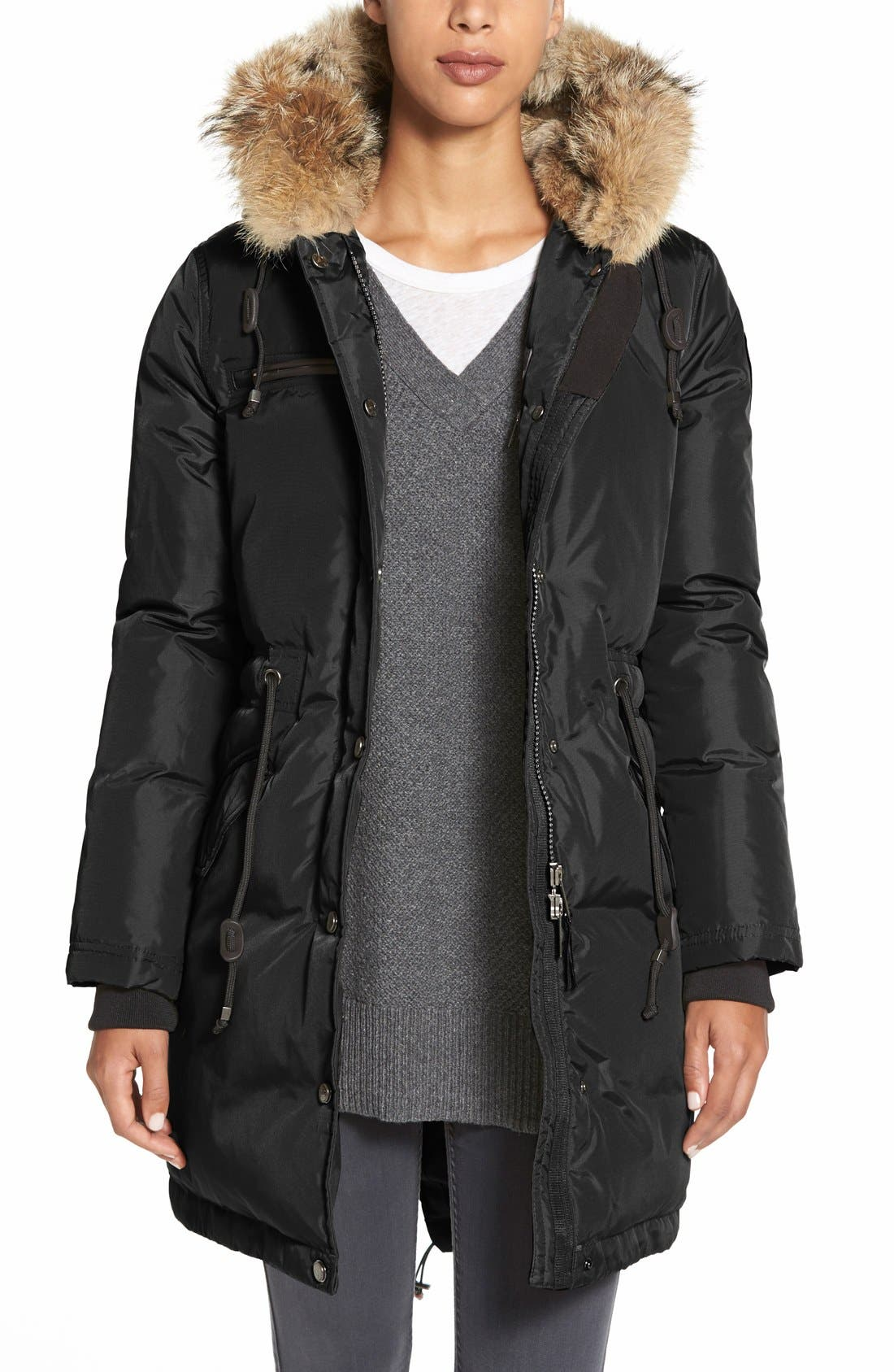 'Christina' Genuine Rabbit & Coyote Trim Long Down Parka, Main, color, 002