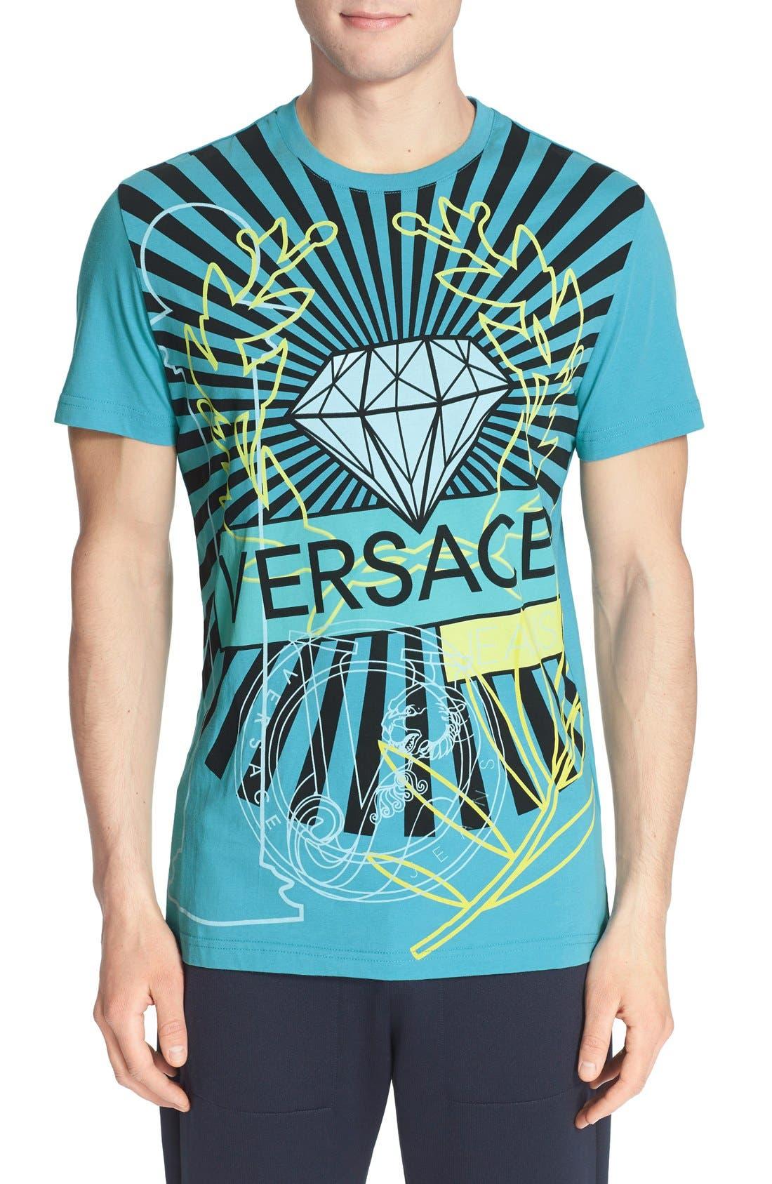 VERSACE JEANS Diamond Print T-Shirt, Main, color, 440