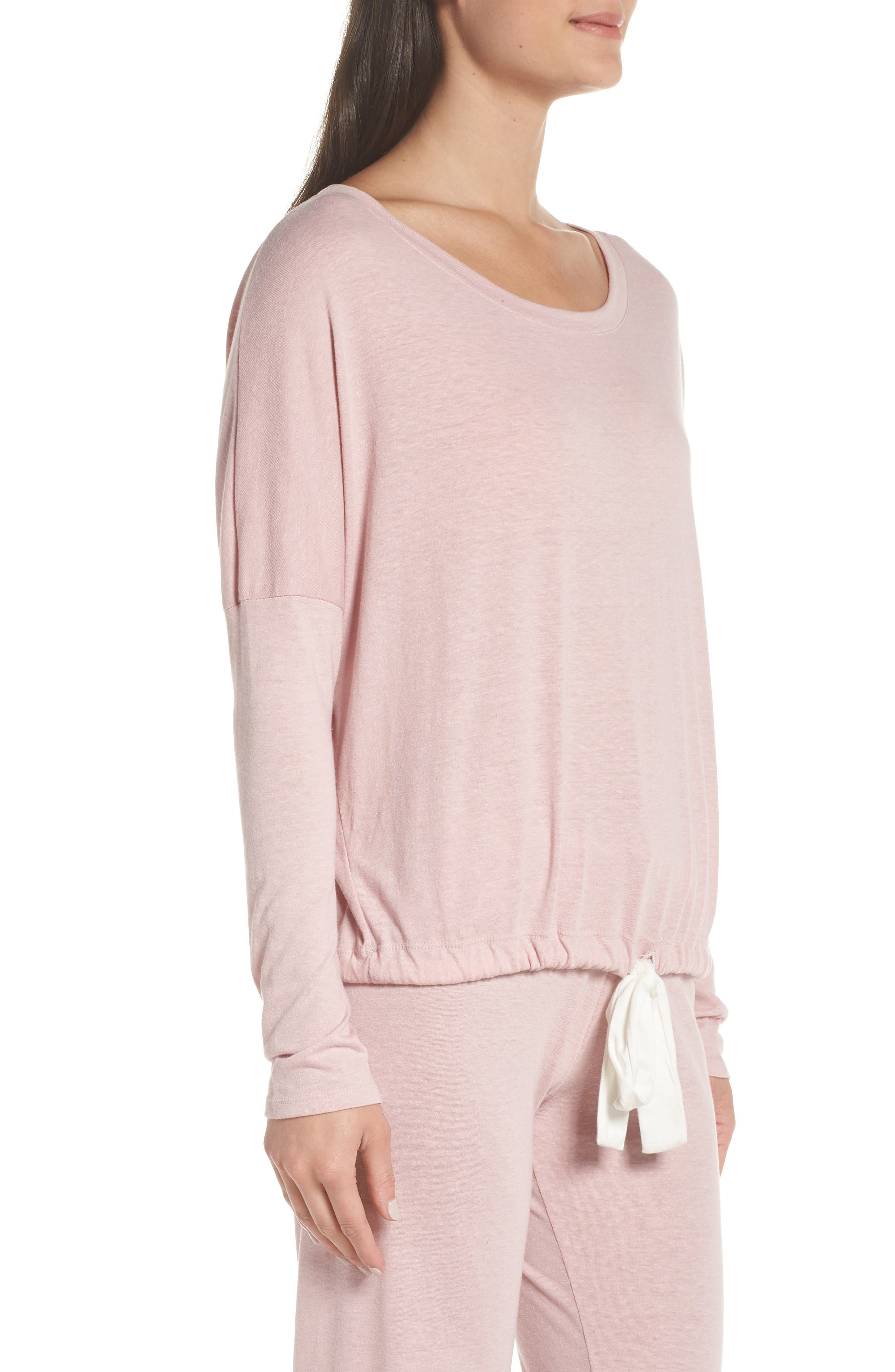 Heather Knit Slouchy Tee,                             Alternate thumbnail 3, color,                             CASHMERE ROSE