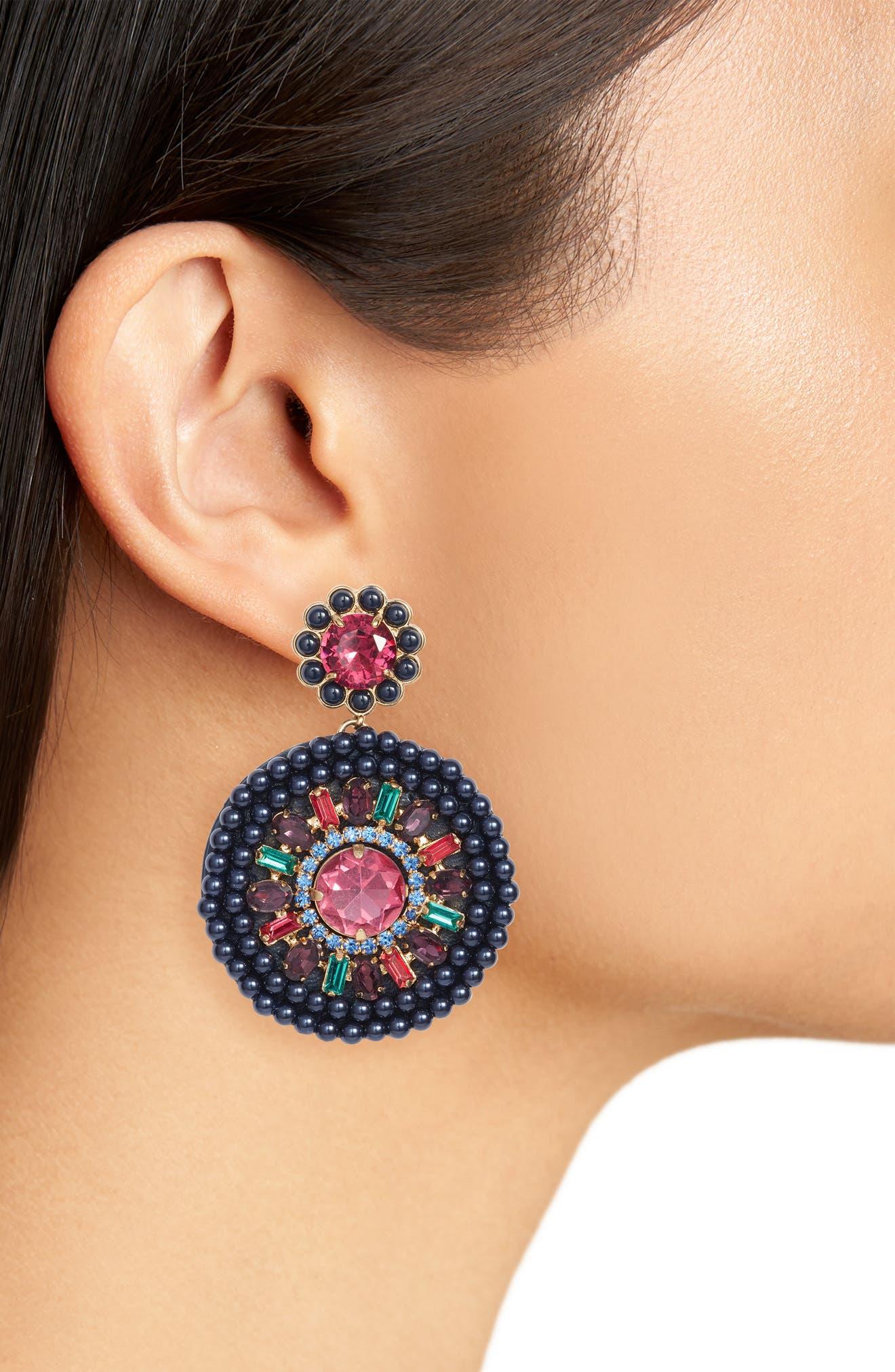 luminous leather statement earrings,                             Alternate thumbnail 5, color,