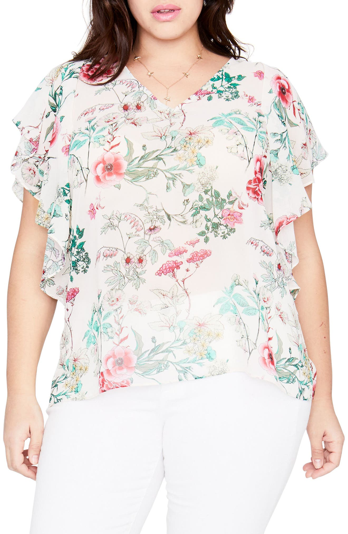 Flutter Sleeve Floral Top,                         Main,                         color, ALMOND MILK COMBO