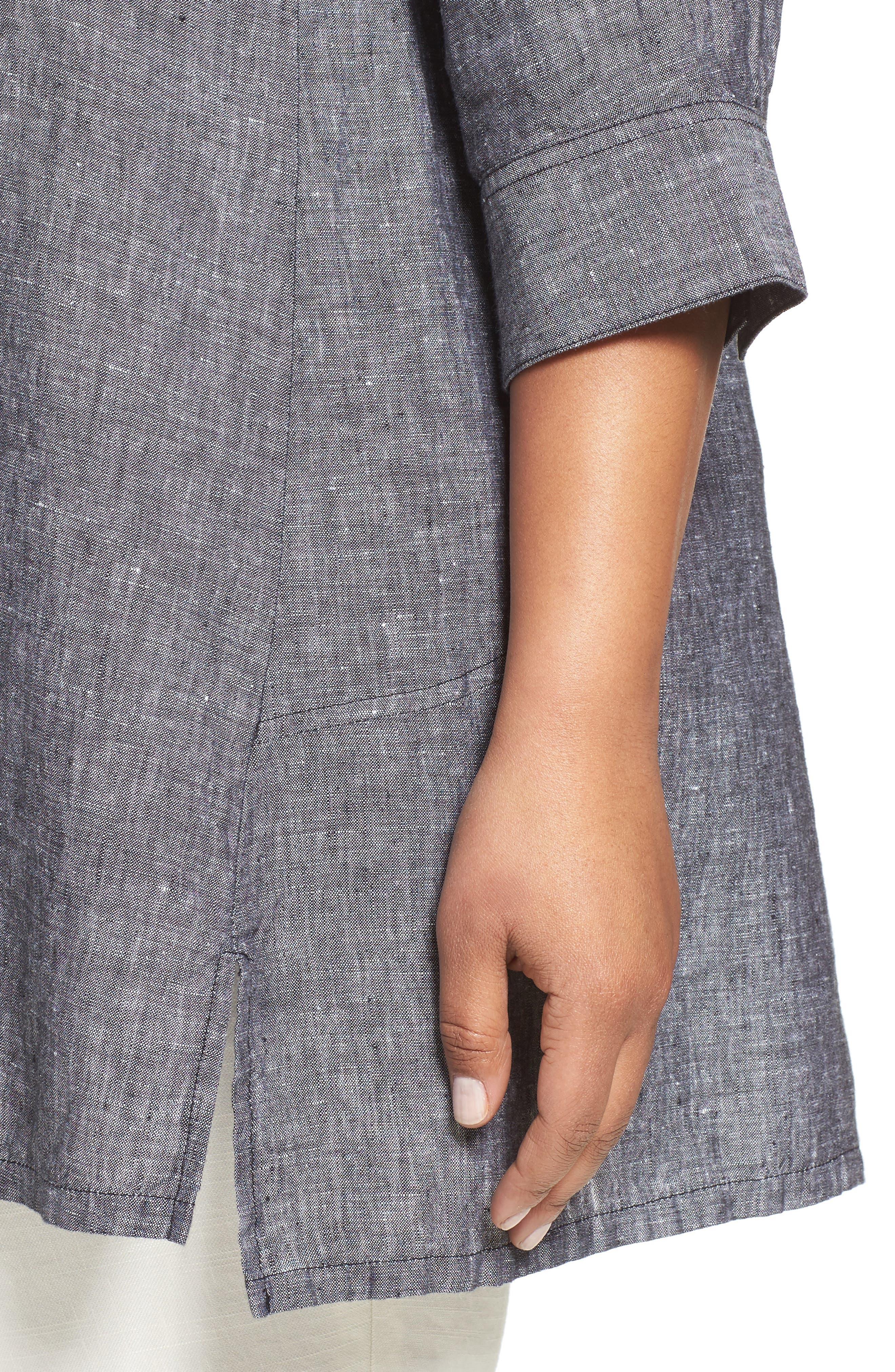 Chambray Linen Tunic Shirt,                             Alternate thumbnail 4, color,                             BLACK