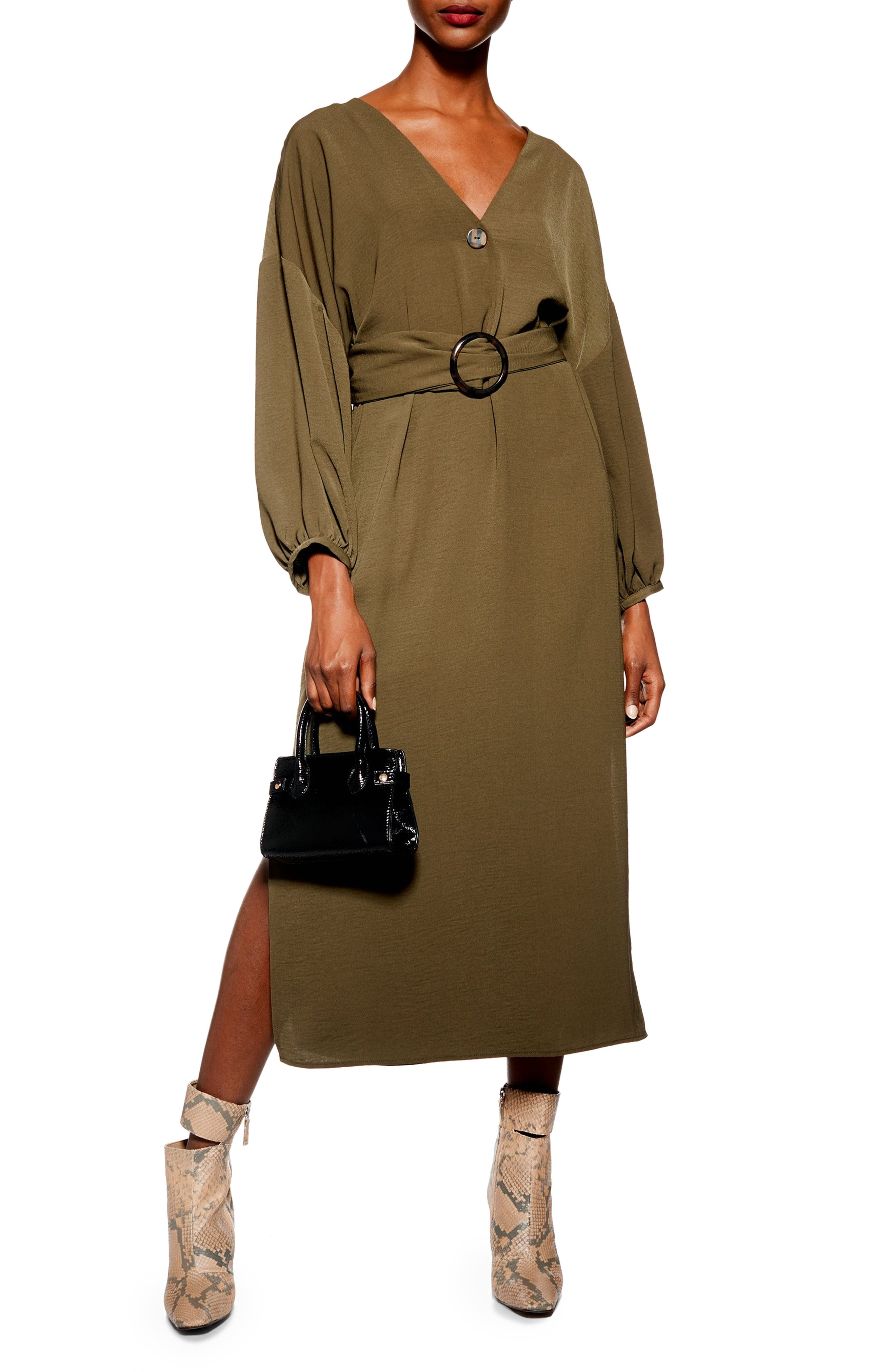 Belted Midi Dress,                             Main thumbnail 1, color,                             OLIVE