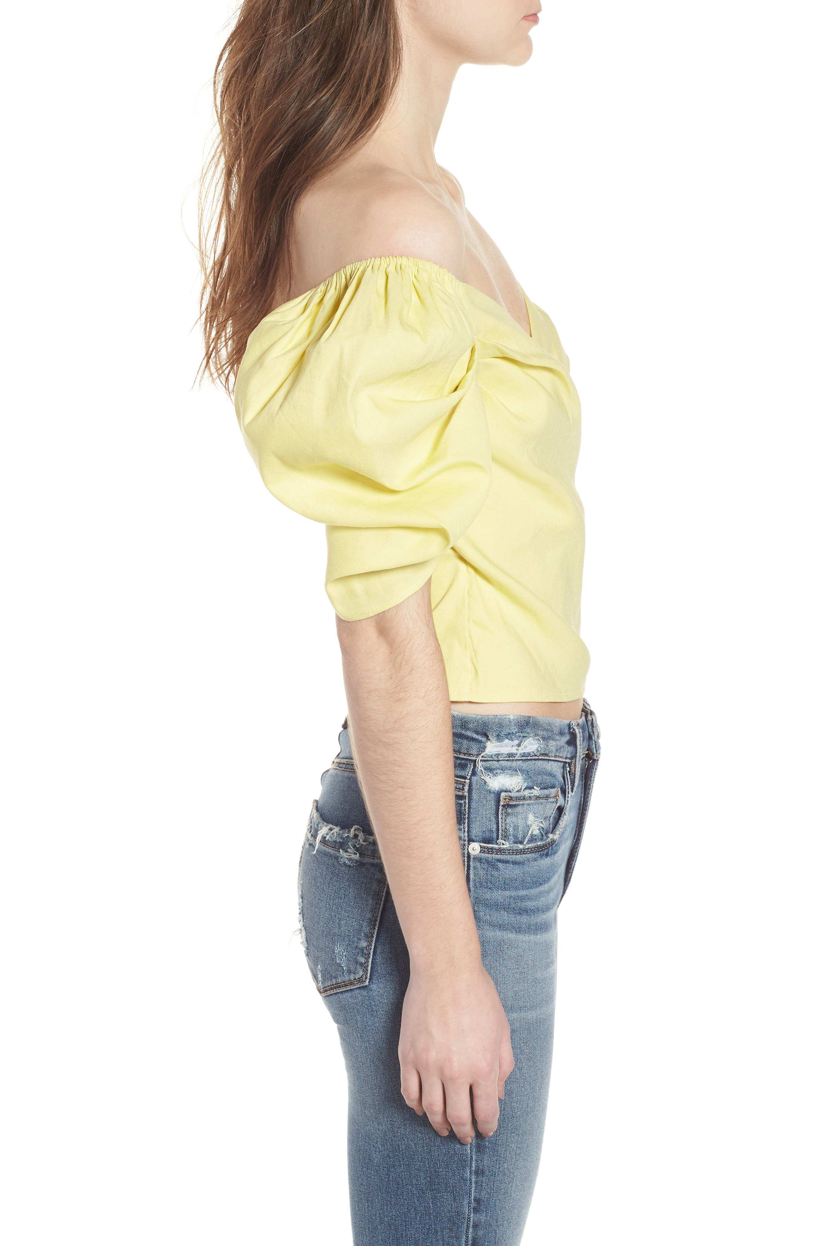 Off the Shoulder Top,                             Alternate thumbnail 3, color,                             YELLOW CANARY