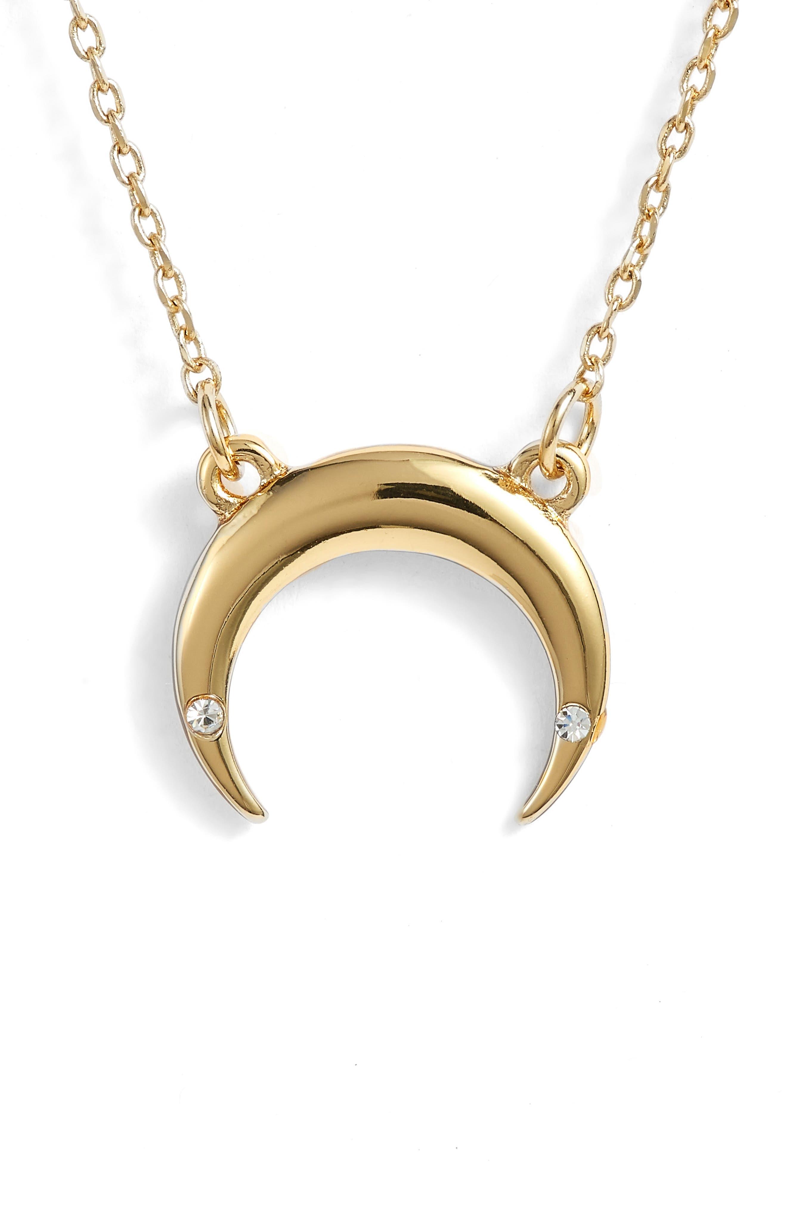 Crescent Necklace,                         Main,                         color, GOLD