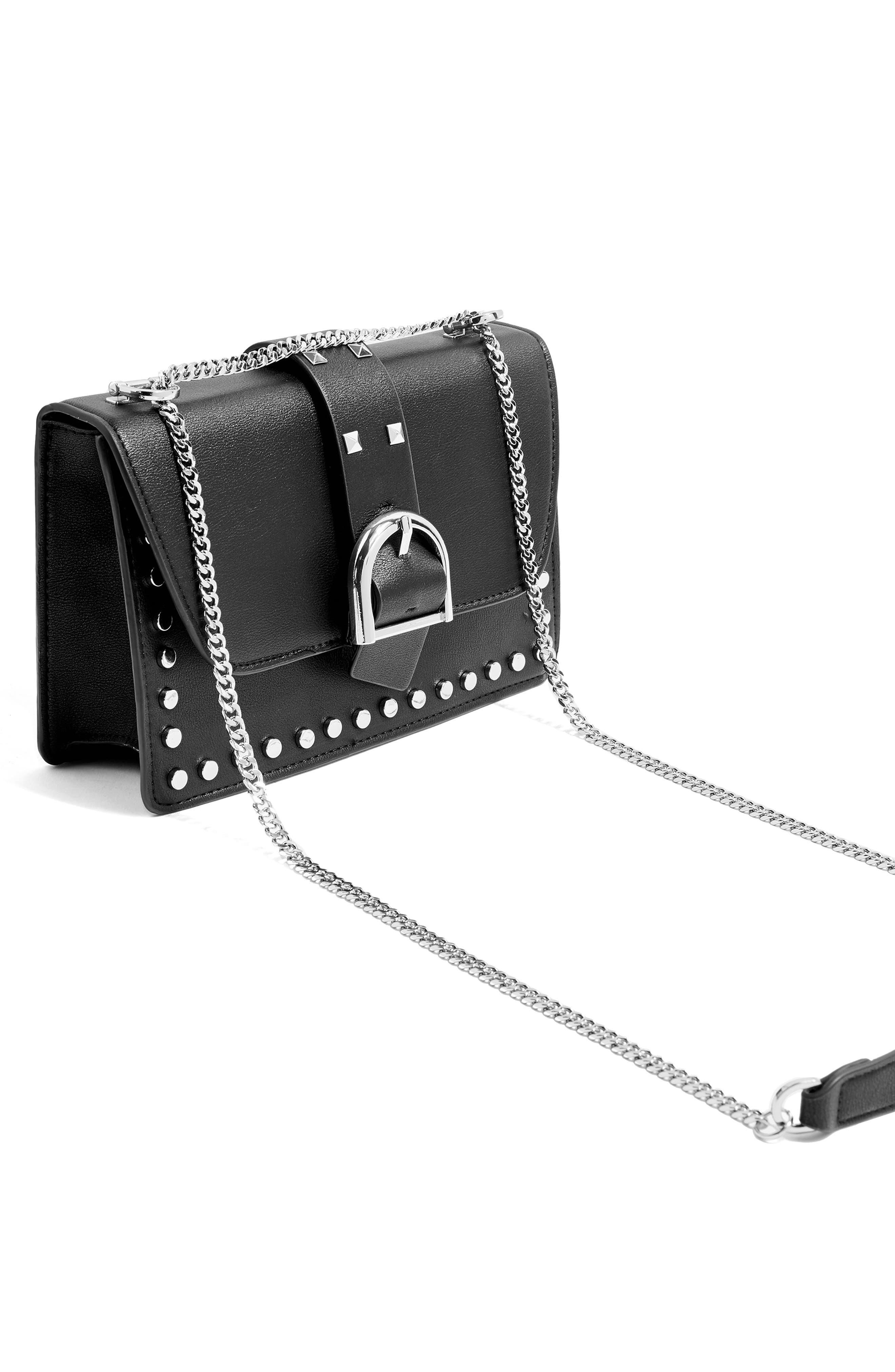 Buckle Faux Leather Crossbody Bag,                             Alternate thumbnail 4, color,                             BLACK
