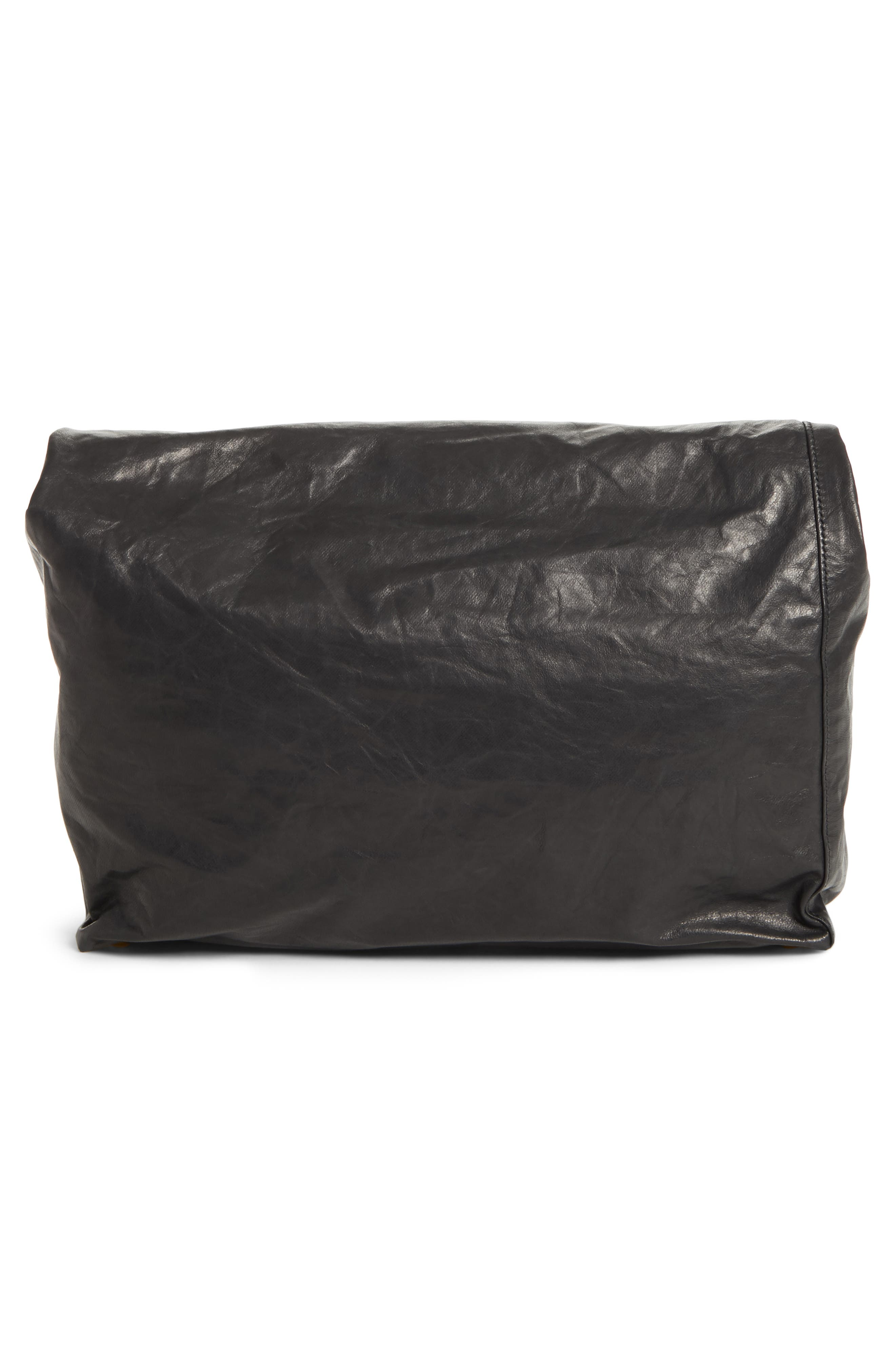 Lunchbag Leather Roll Top Clutch,                             Alternate thumbnail 3, color,                             BLACK