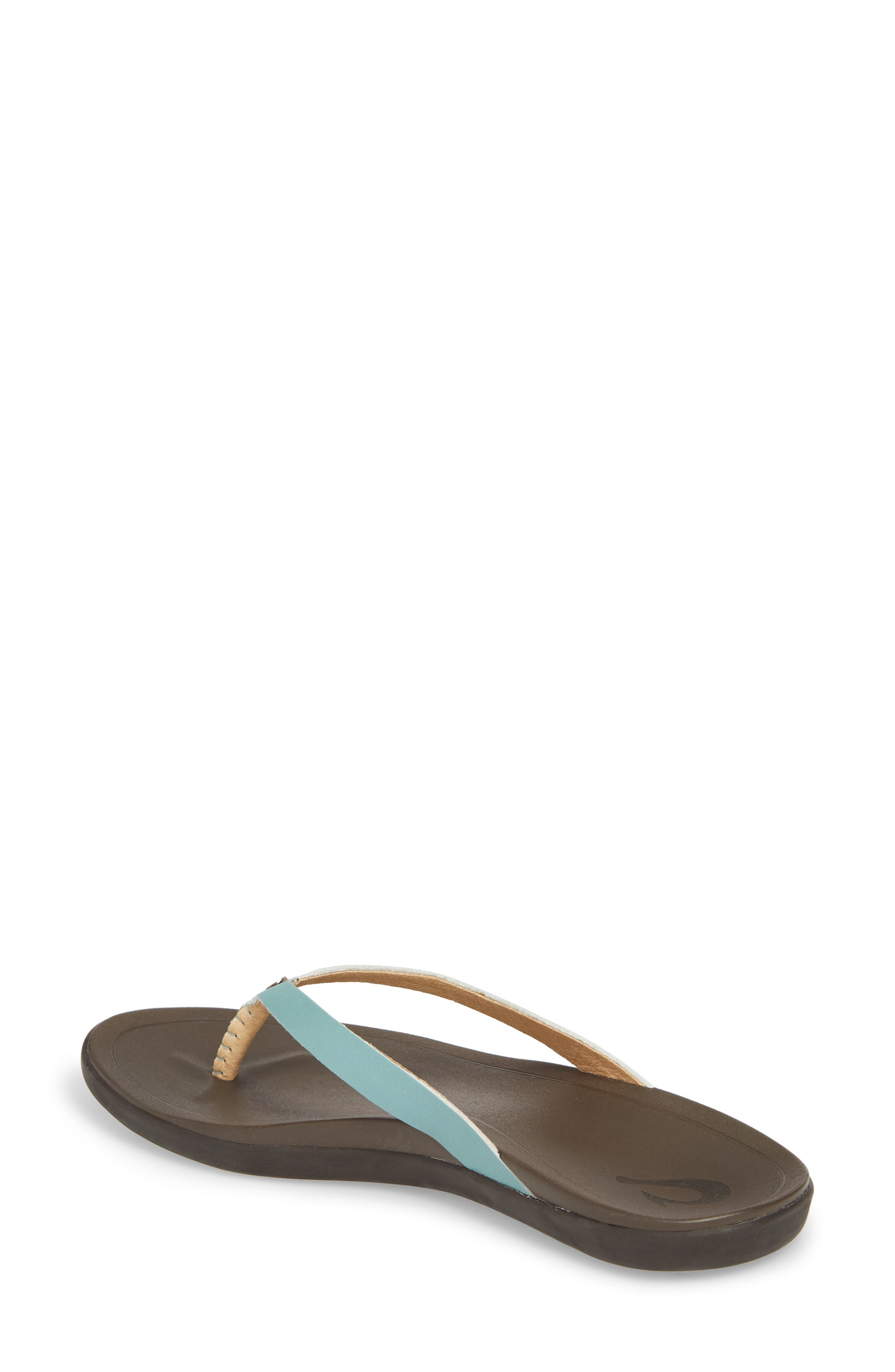 'Ho Opio' Leather Flip Flop,                             Alternate thumbnail 2, color,                             MINERAL BLUE/ DARK JAVA