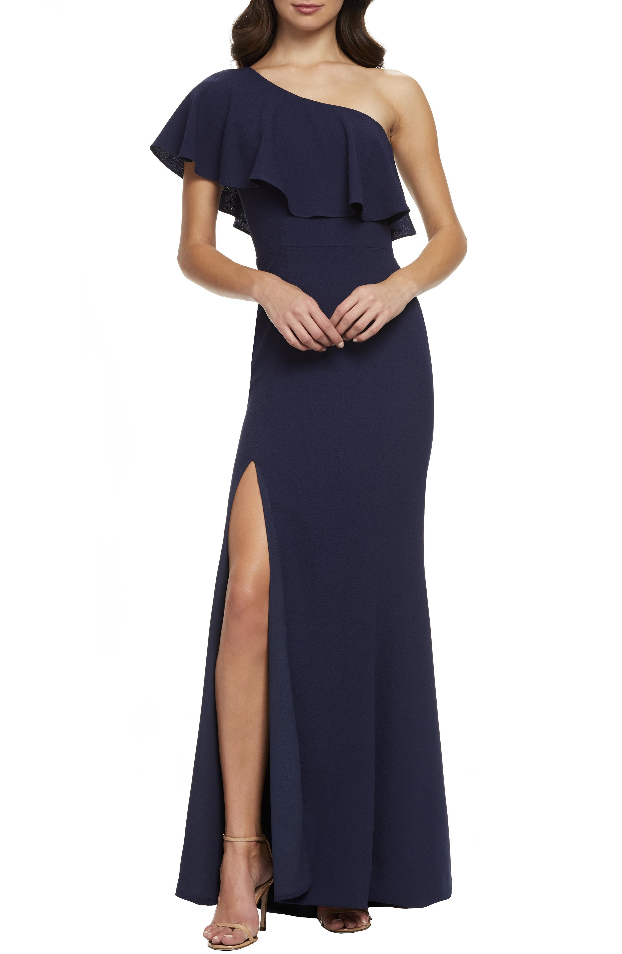 Dress The Population Frida One-Shoulder Crepe Gown, Blue