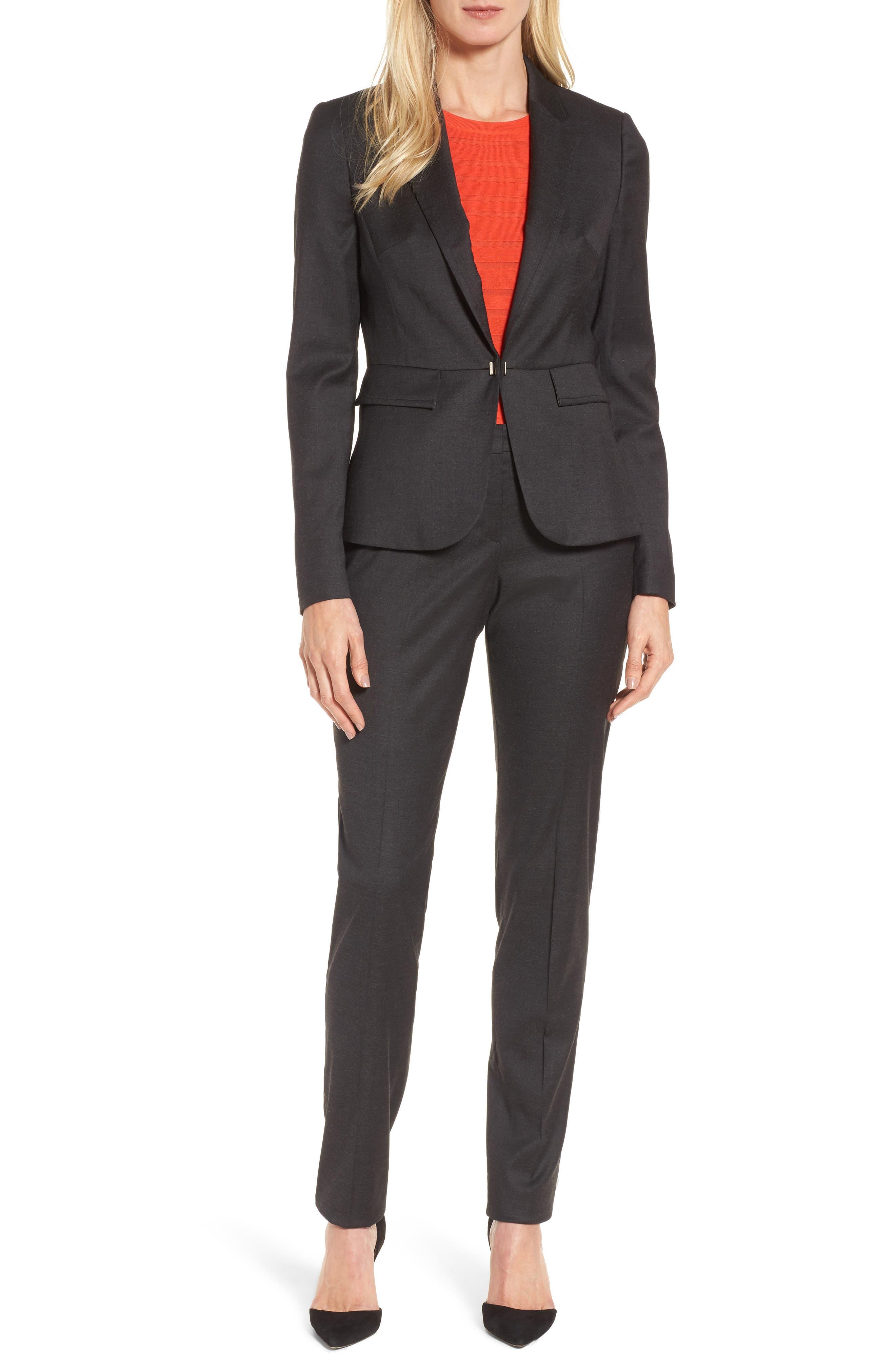 Tilunana Stretch Wool Blend Suit Trousers,                             Alternate thumbnail 7, color,                             094