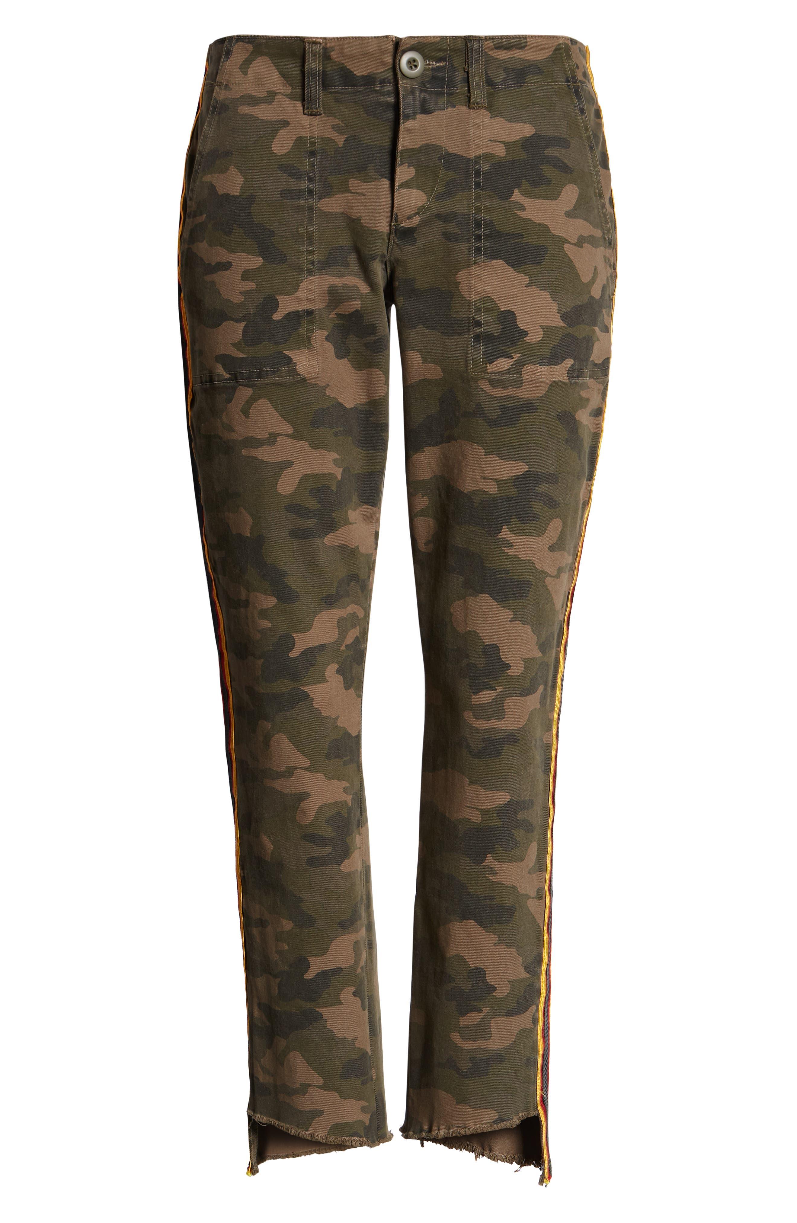 Uniform Stripe Step Hem Pants,                             Alternate thumbnail 7, color,                             ARMY