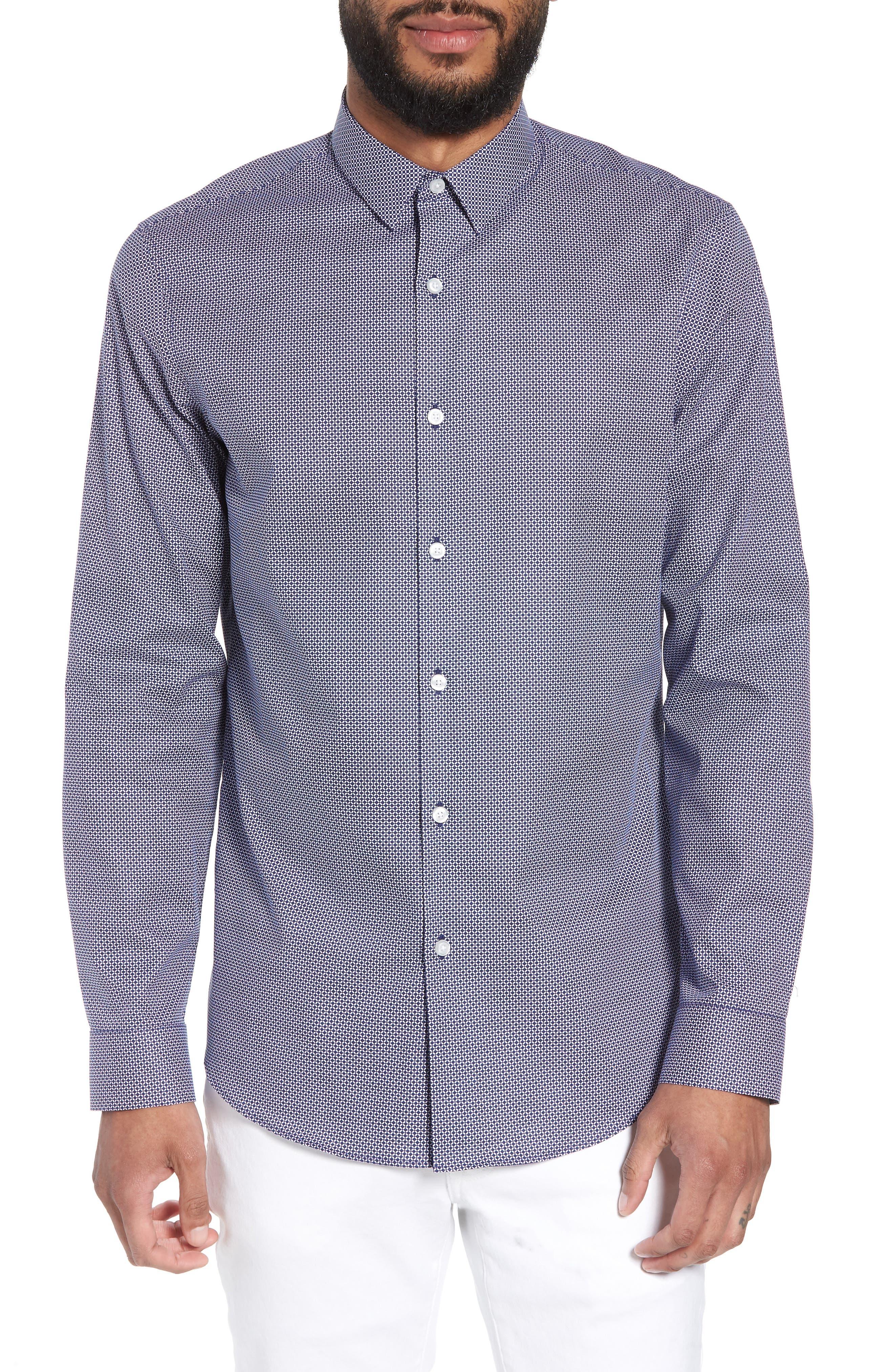 Trim Fit Micro Collar Sport Shirt,                         Main,                         color, 410
