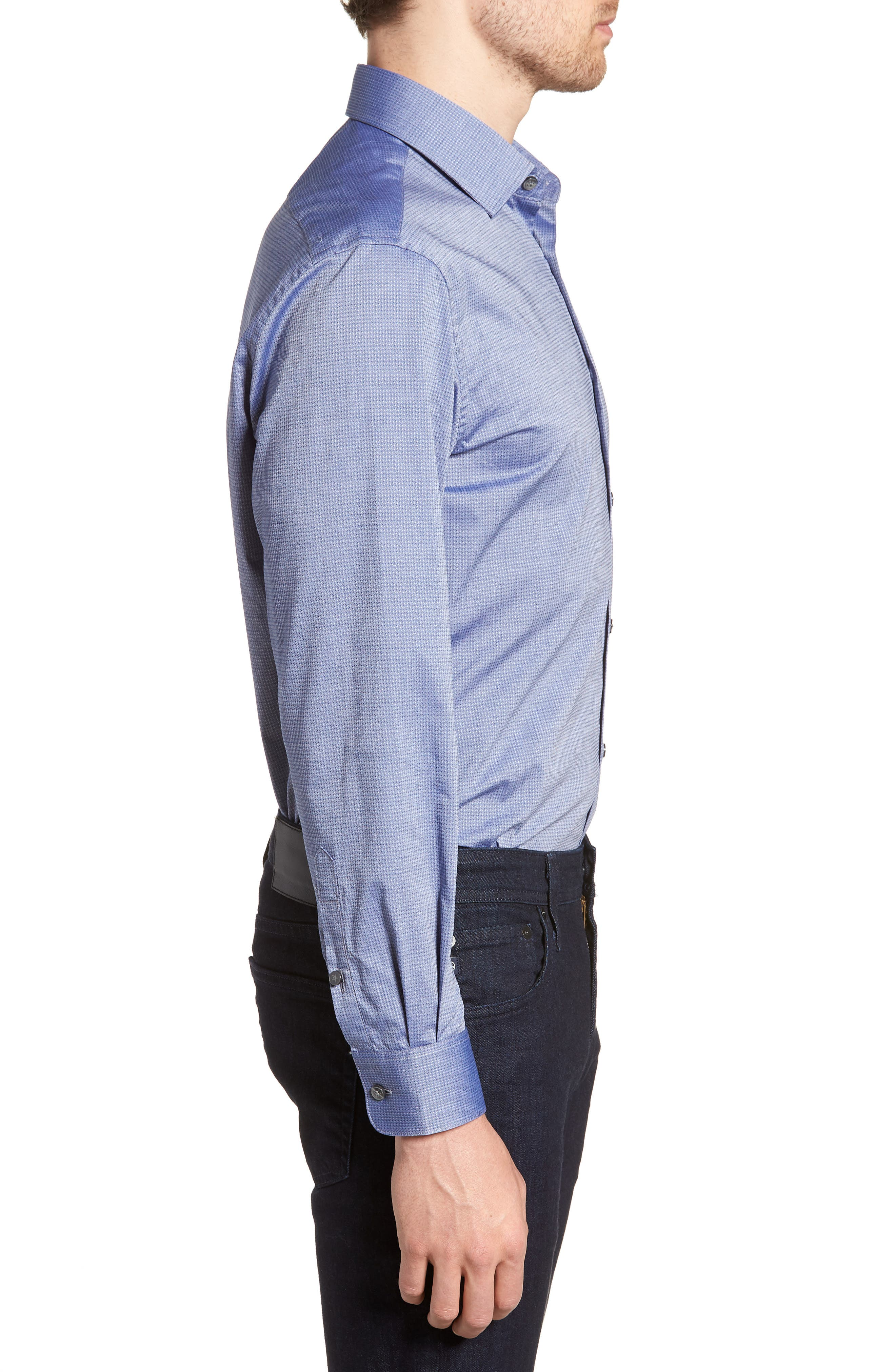 Regular Fit Stretch Print Dress Shirt,                             Alternate thumbnail 4, color,                             DEEP BLUE