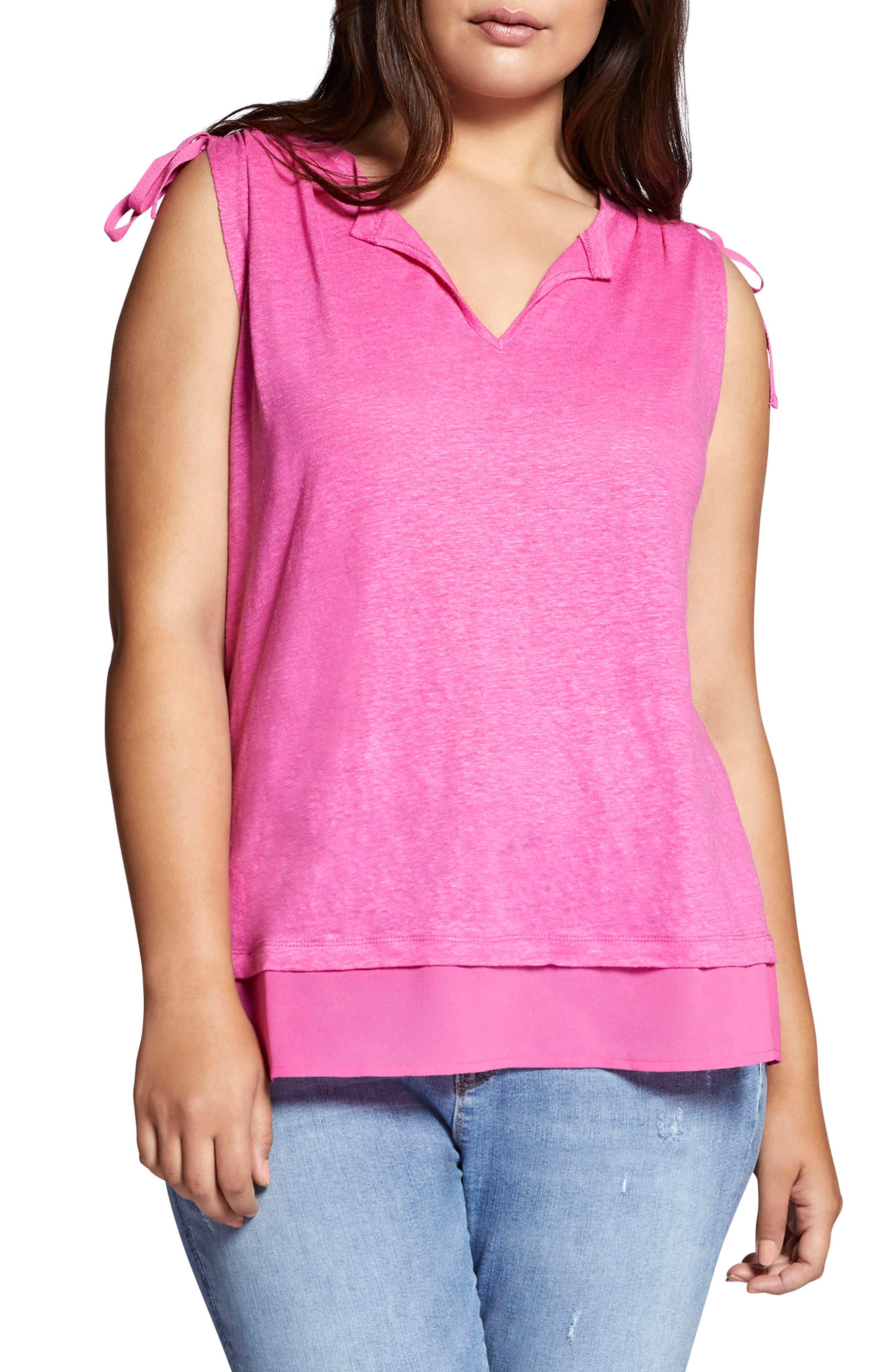 Nora Tiered Hem Linen Top,                         Main,                         color, WILD CHERRY