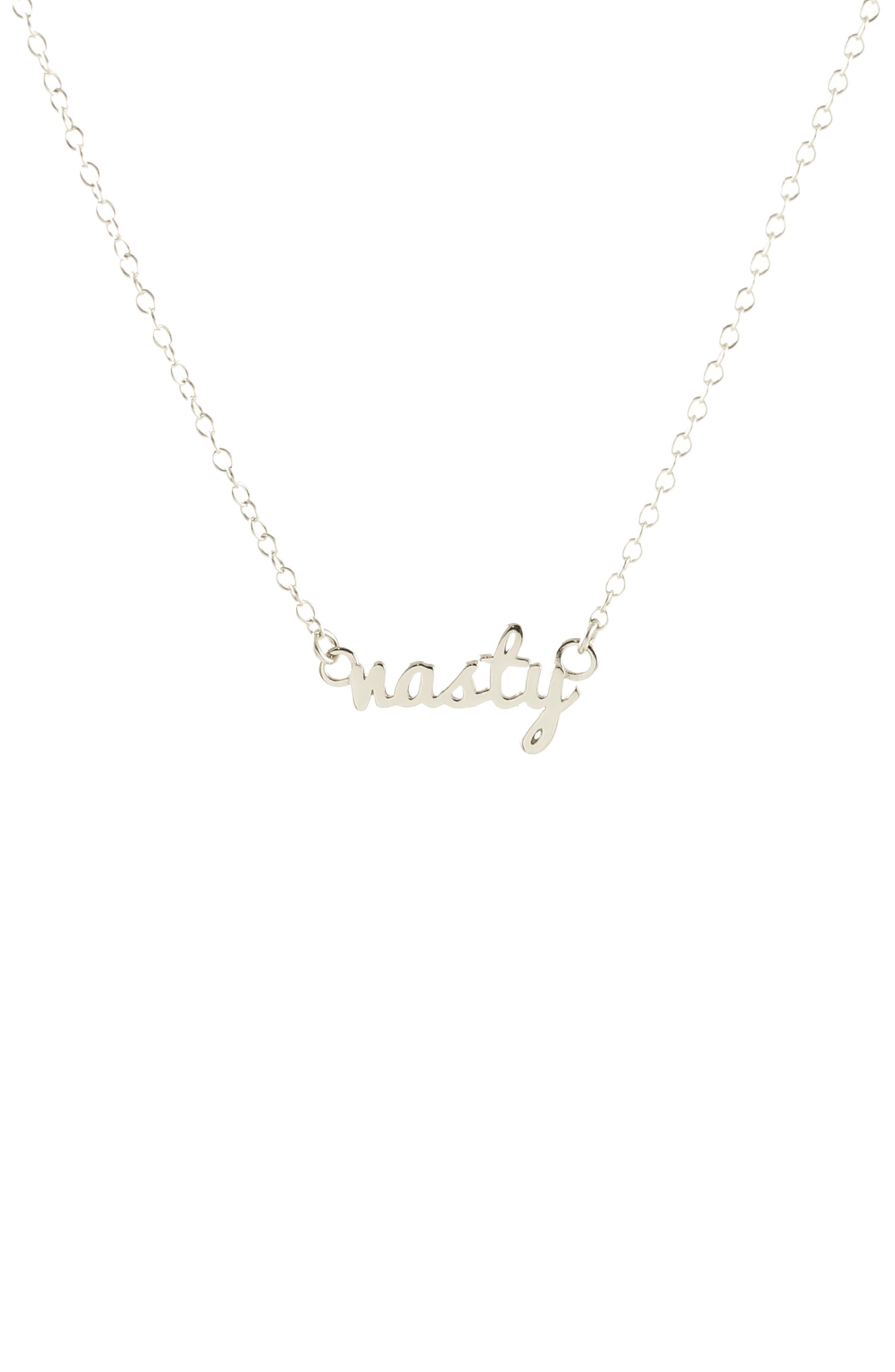 Nasty Script Necklace,                         Main,                         color, SILVER