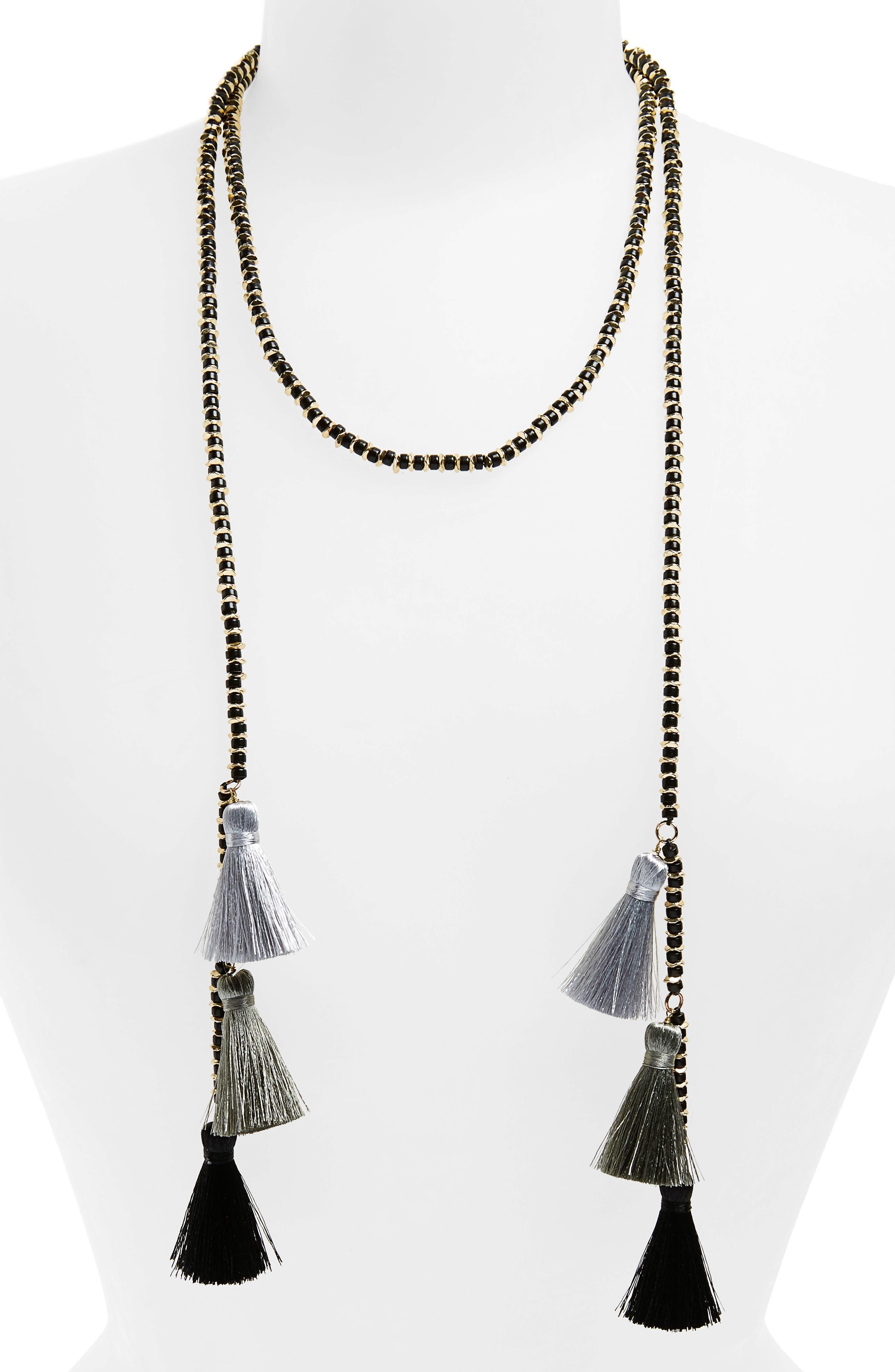 Tassel Wrap Necklace,                         Main,                         color, 001