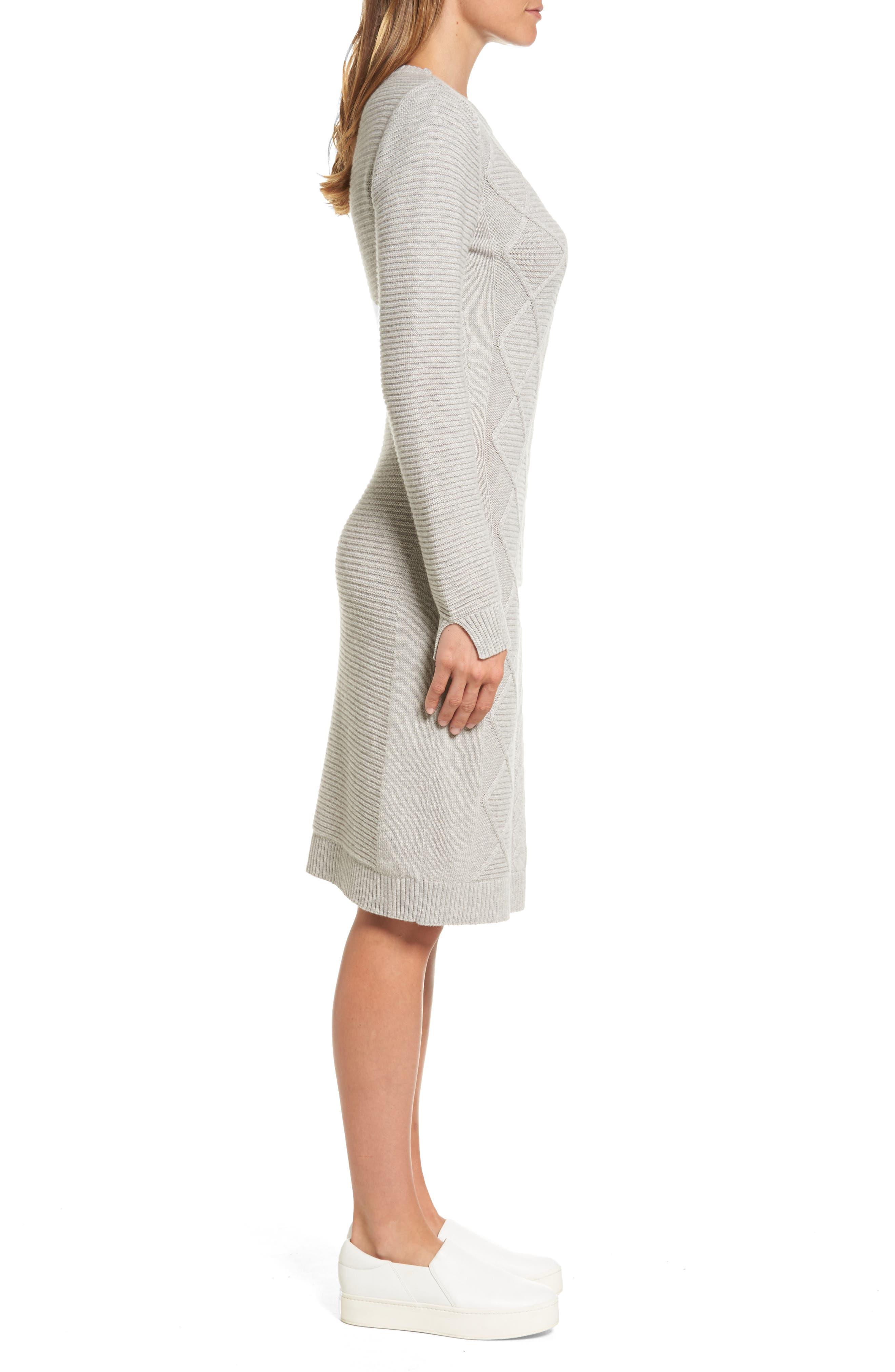 Emmanuel Cable Knit Sweater Dress,                             Alternate thumbnail 3, color,                             050