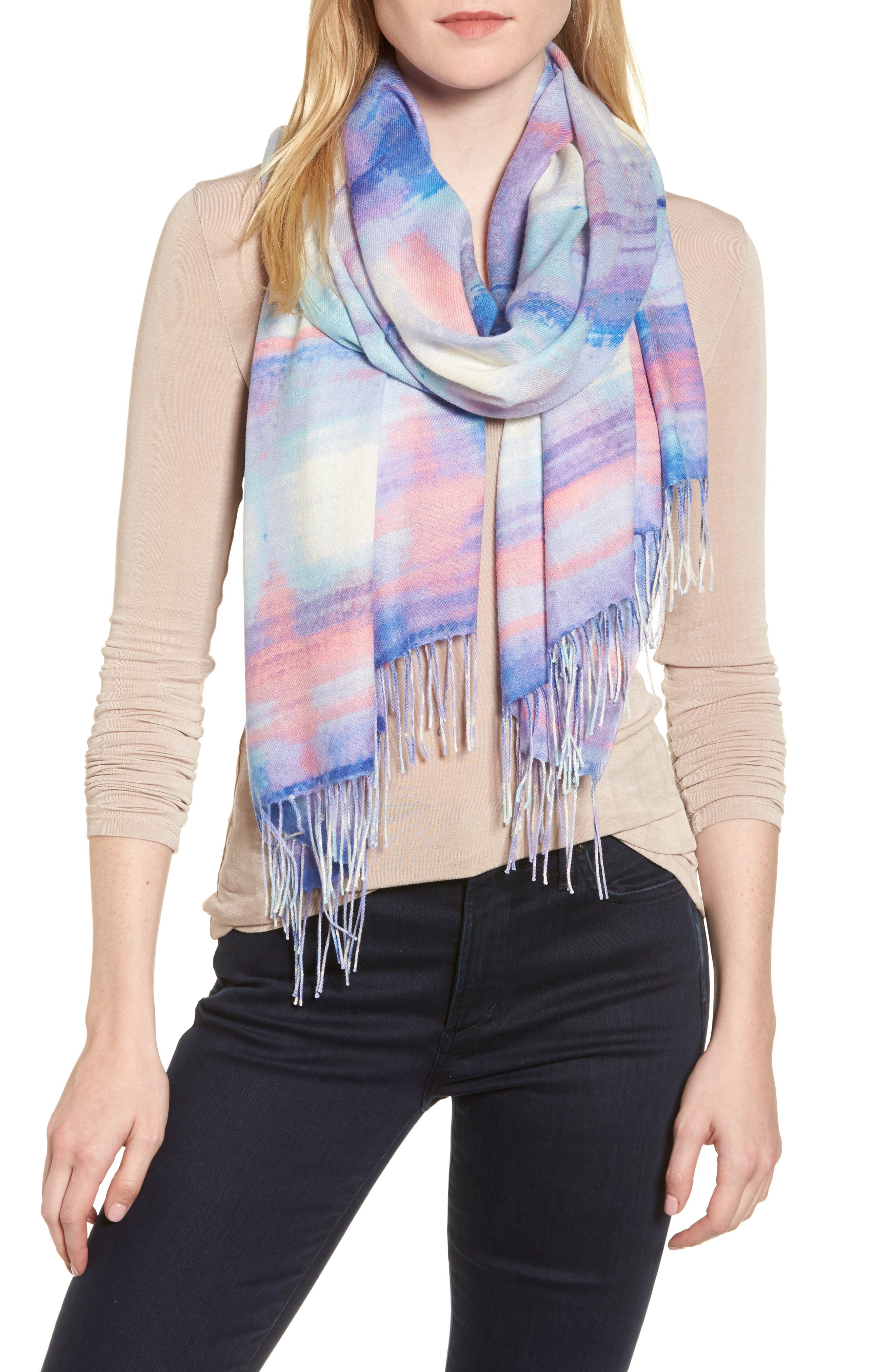 Tissue Print Wool & Cashmere Wrap Scarf,                             Main thumbnail 13, color,