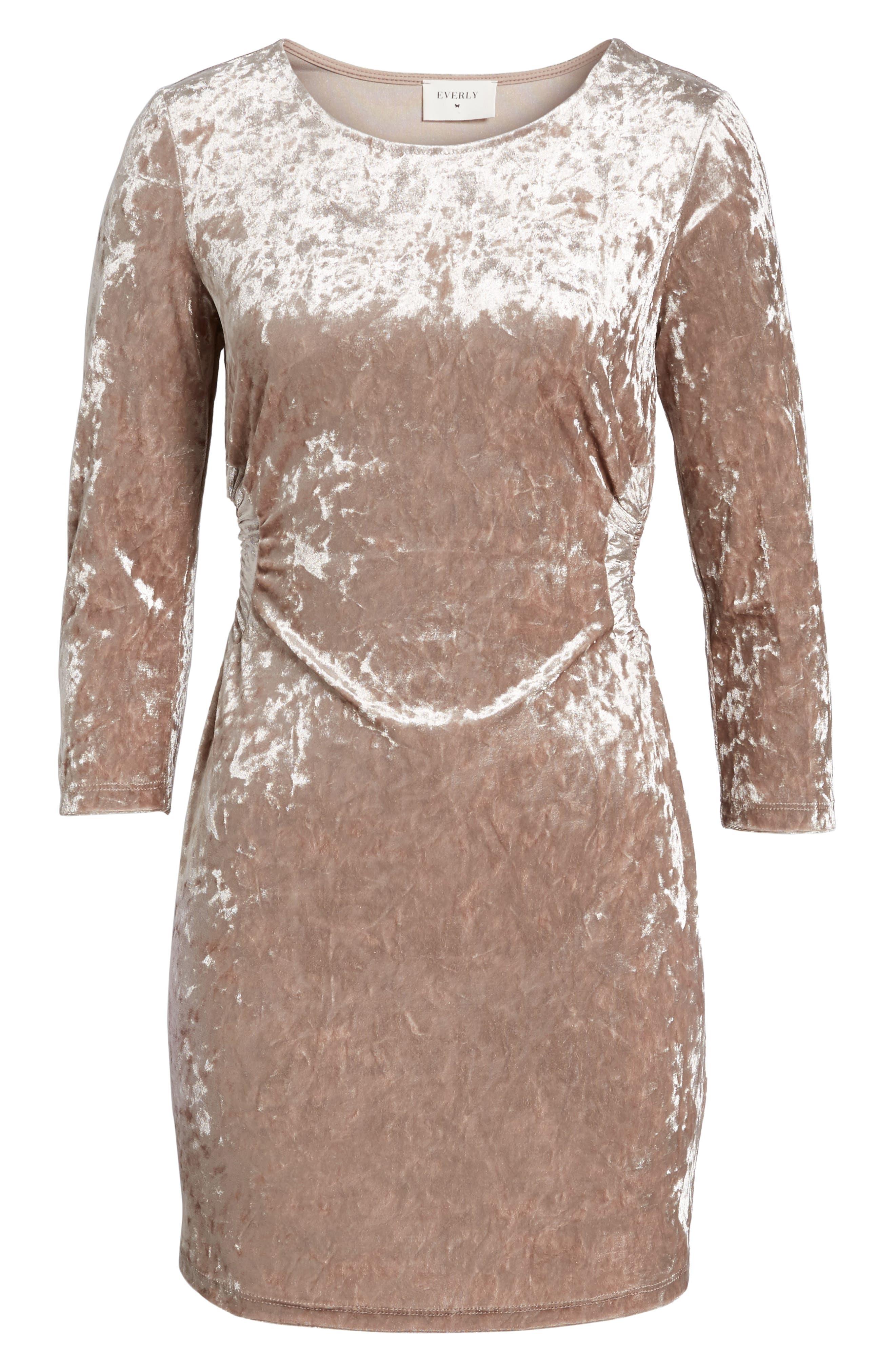 Cutout Velvet Dress,                             Alternate thumbnail 6, color,                             021