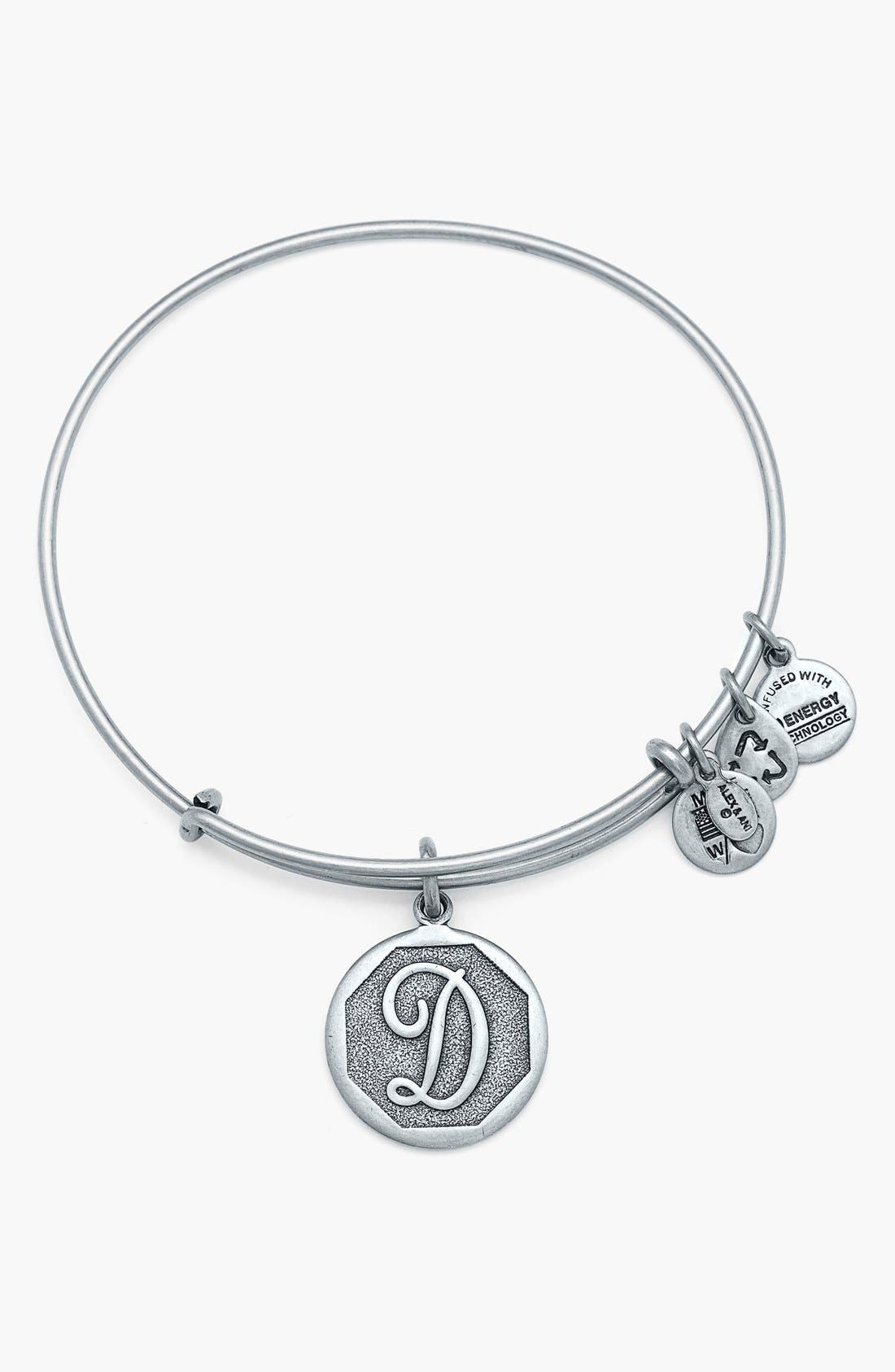 'Initial' Adjustable Wire Bangle,                             Main thumbnail 5, color,