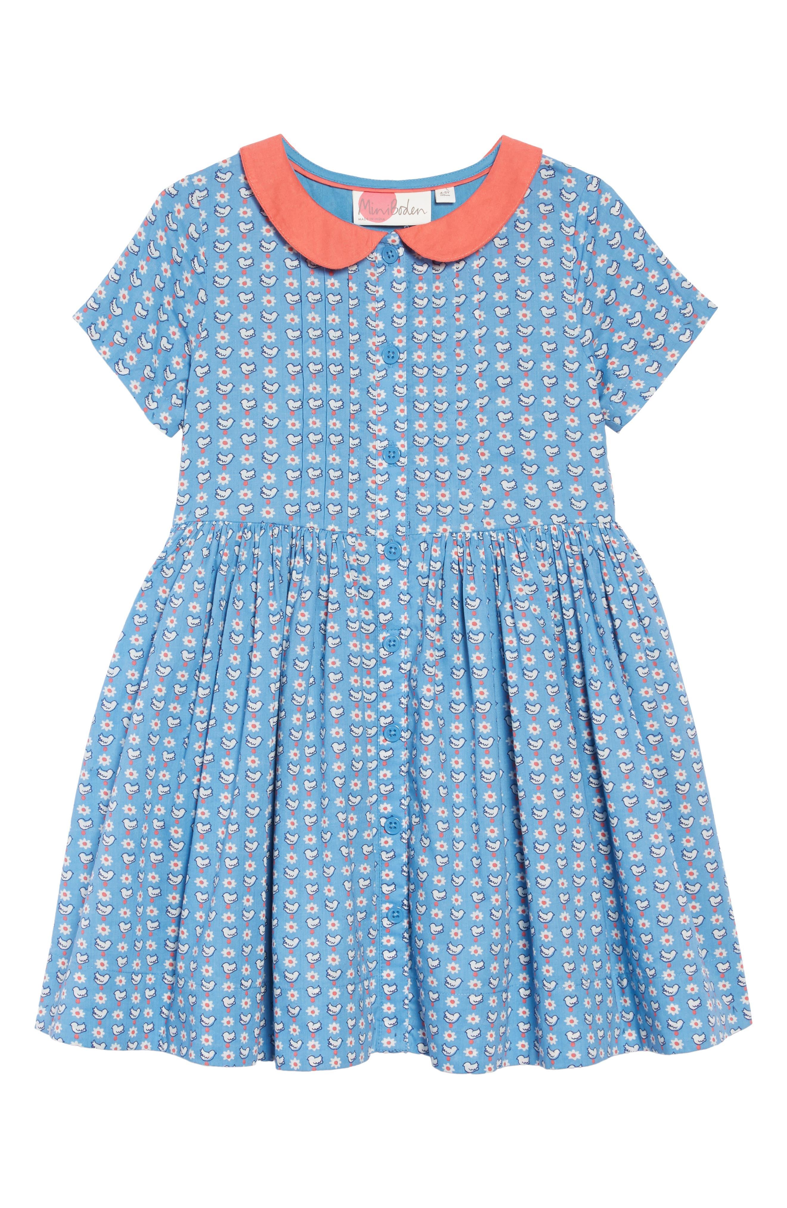 Nostalgic Collared Dress,                             Main thumbnail 1, color,                             BLUE GEO BIRDS