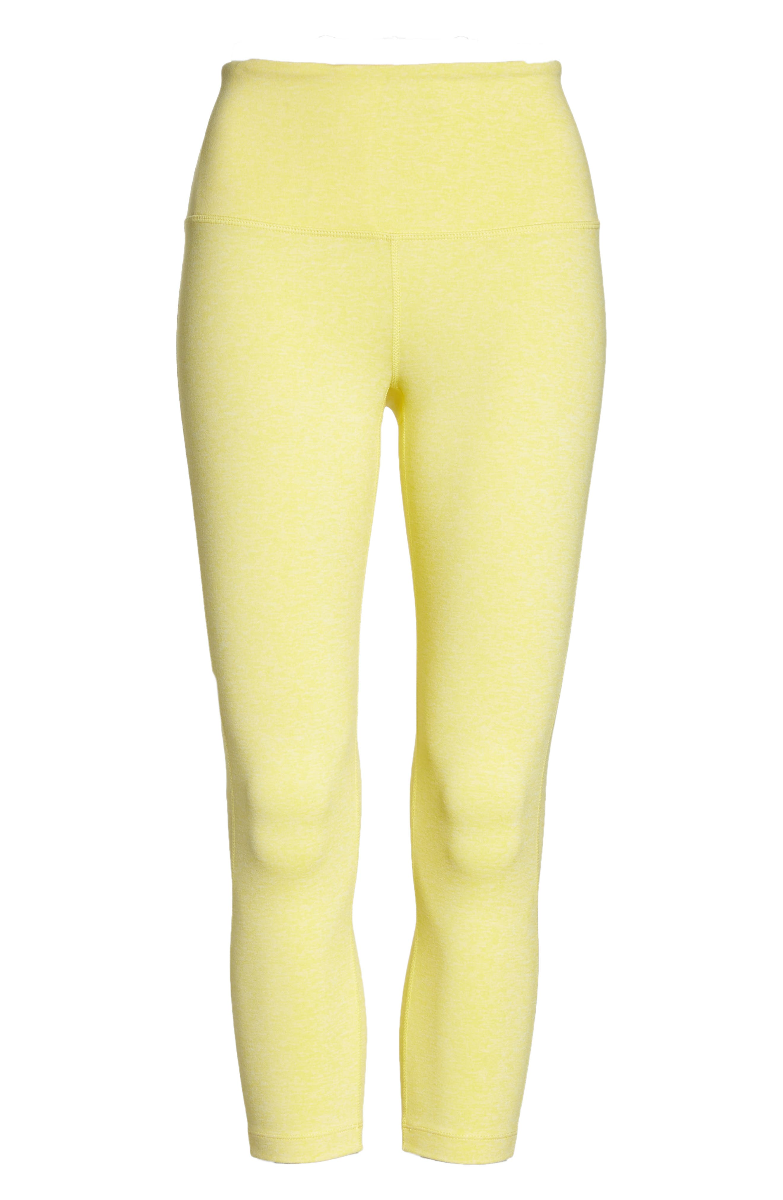 Live In High Waist Crop Recycled Leggings,                             Alternate thumbnail 7, color,                             YELLOW GLOW