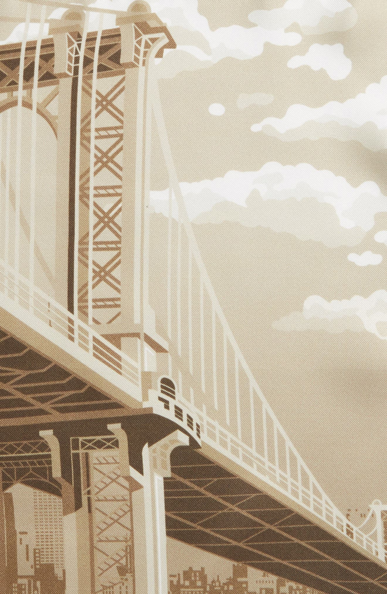 Manhattan Bridge Silk Pocket Square,                             Alternate thumbnail 3, color,                             BROWN