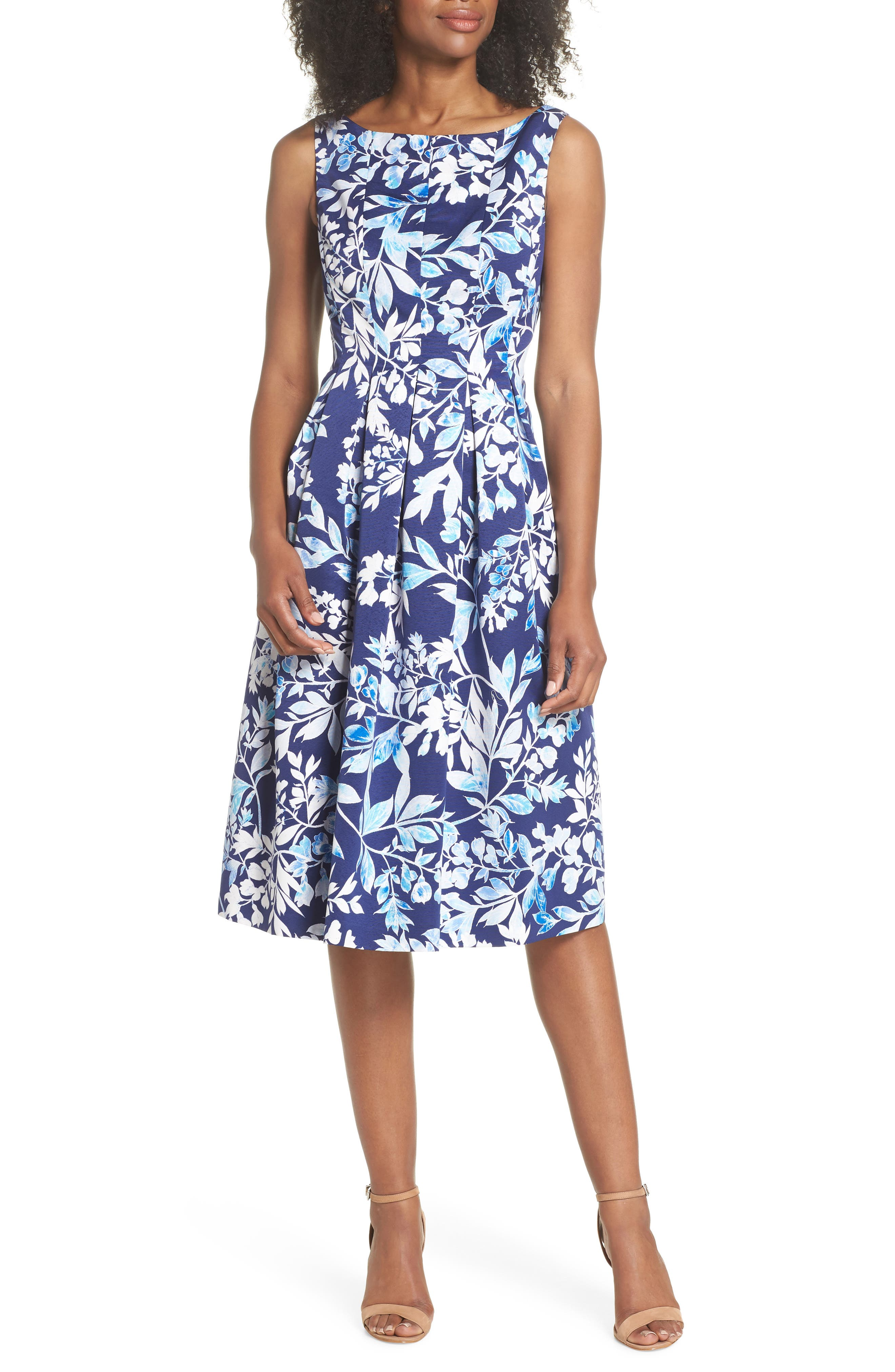 Seamed Bodice Fit & Flare Dress,                         Main,                         color,