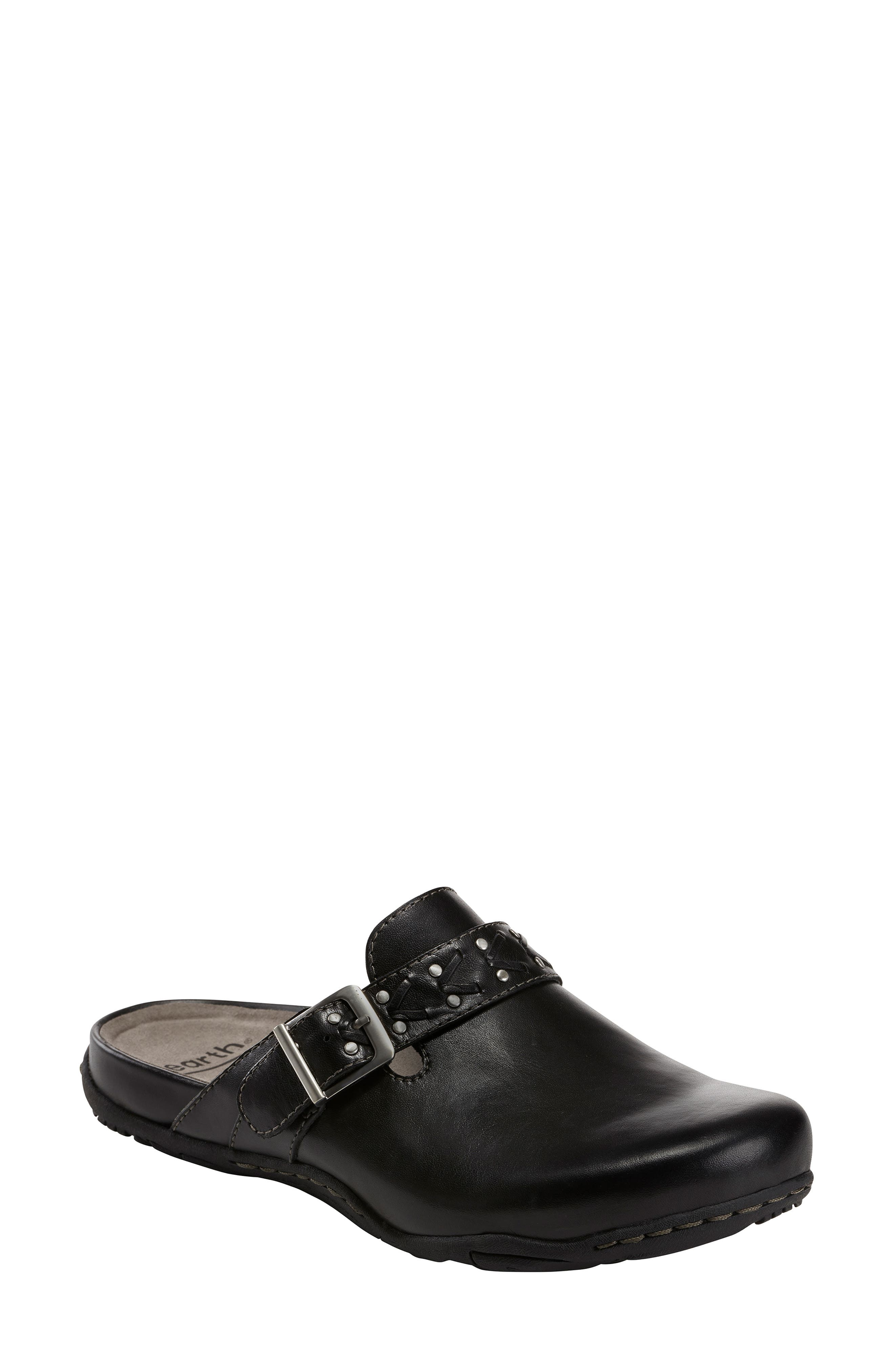 Cayman Clog,                             Main thumbnail 1, color,                             BLACK LEATHER