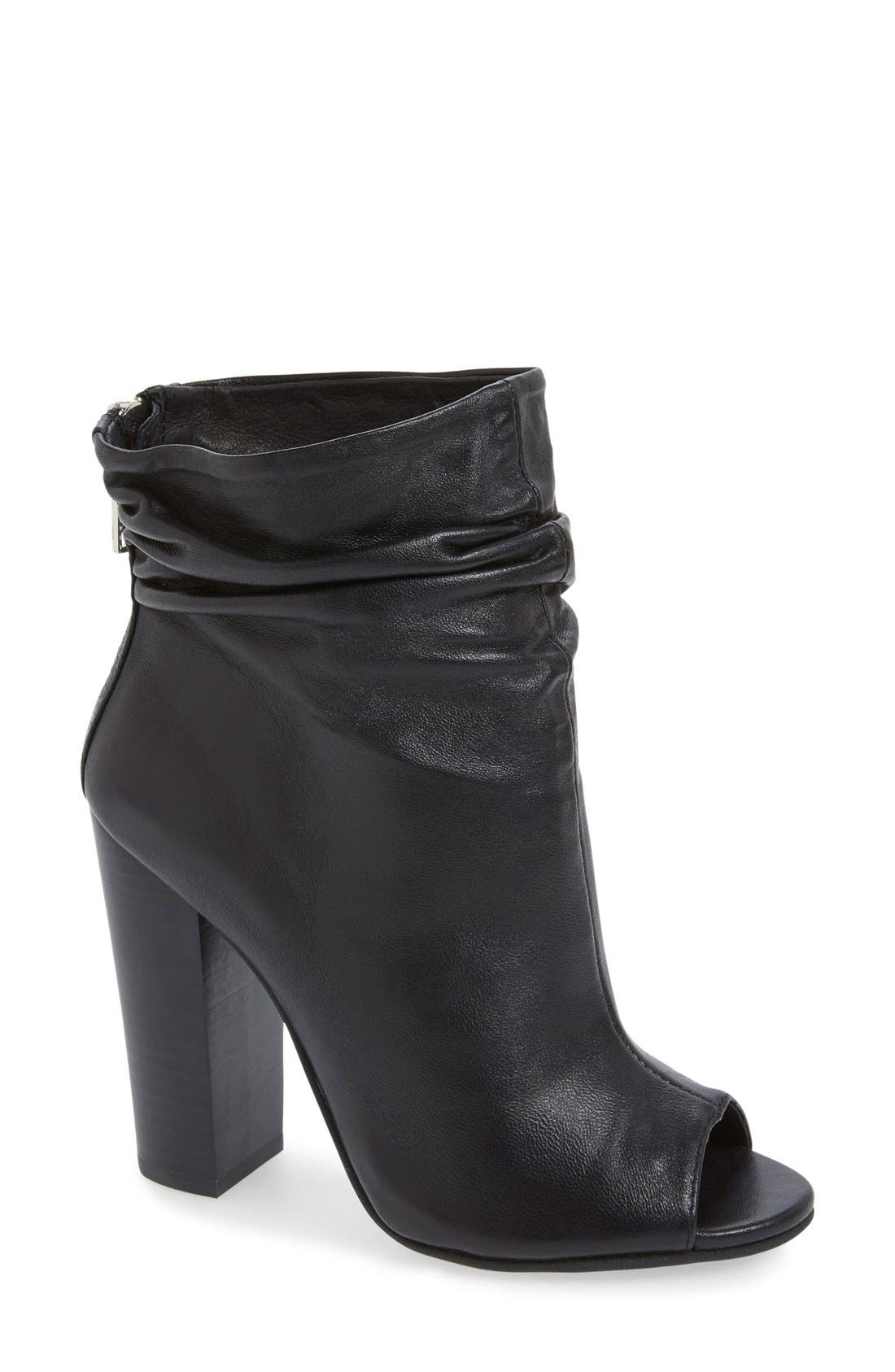 'Liam' Peep Toe Bootie,                             Main thumbnail 1, color,                             001