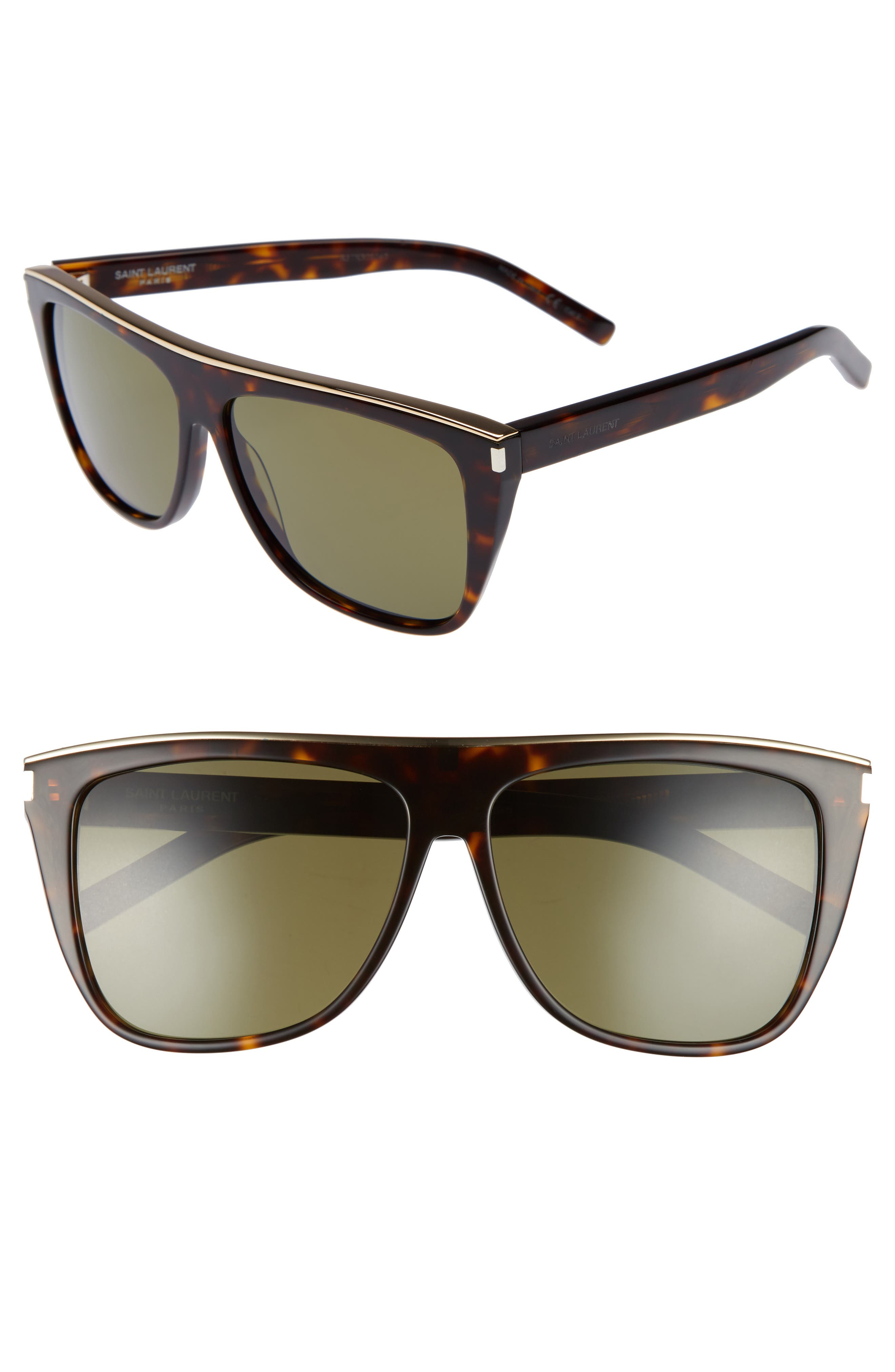 Saint Laurent Combi 5m Flat Top Sunglasses - Havana