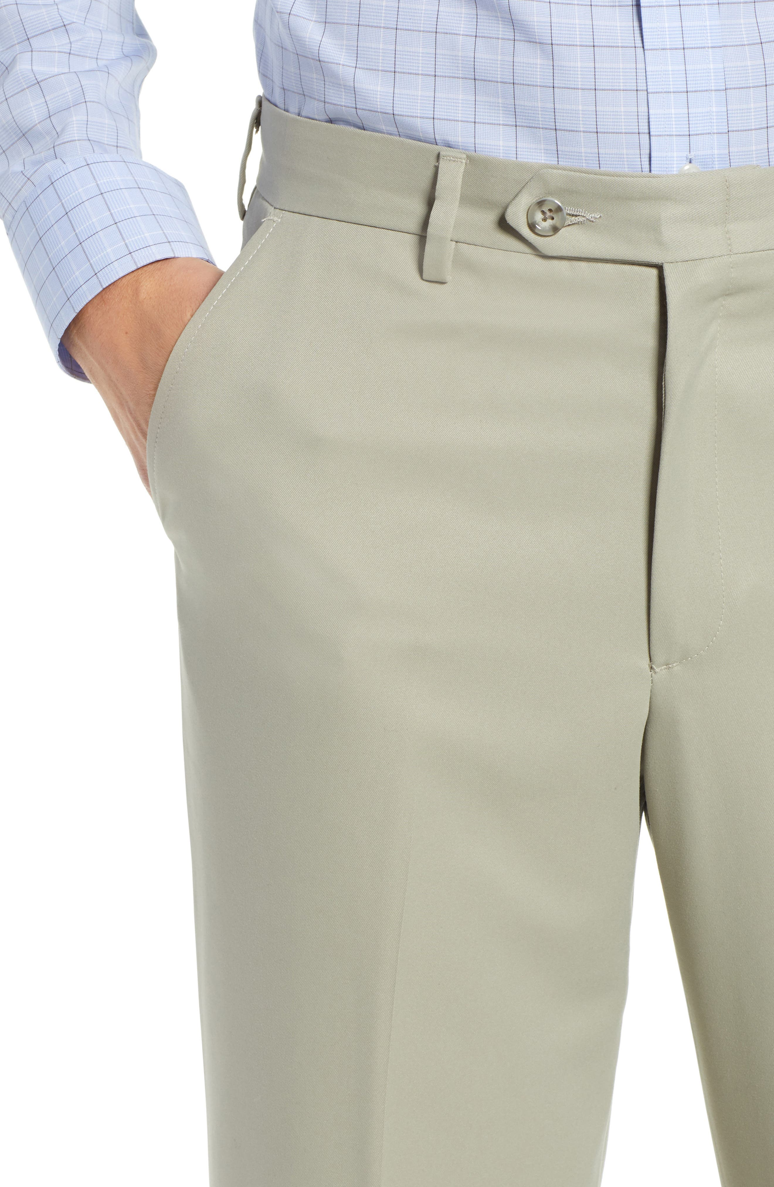 Classic Fit Flat Front Microfiber Performance Trousers,                             Alternate thumbnail 4, color,                             TAUPE