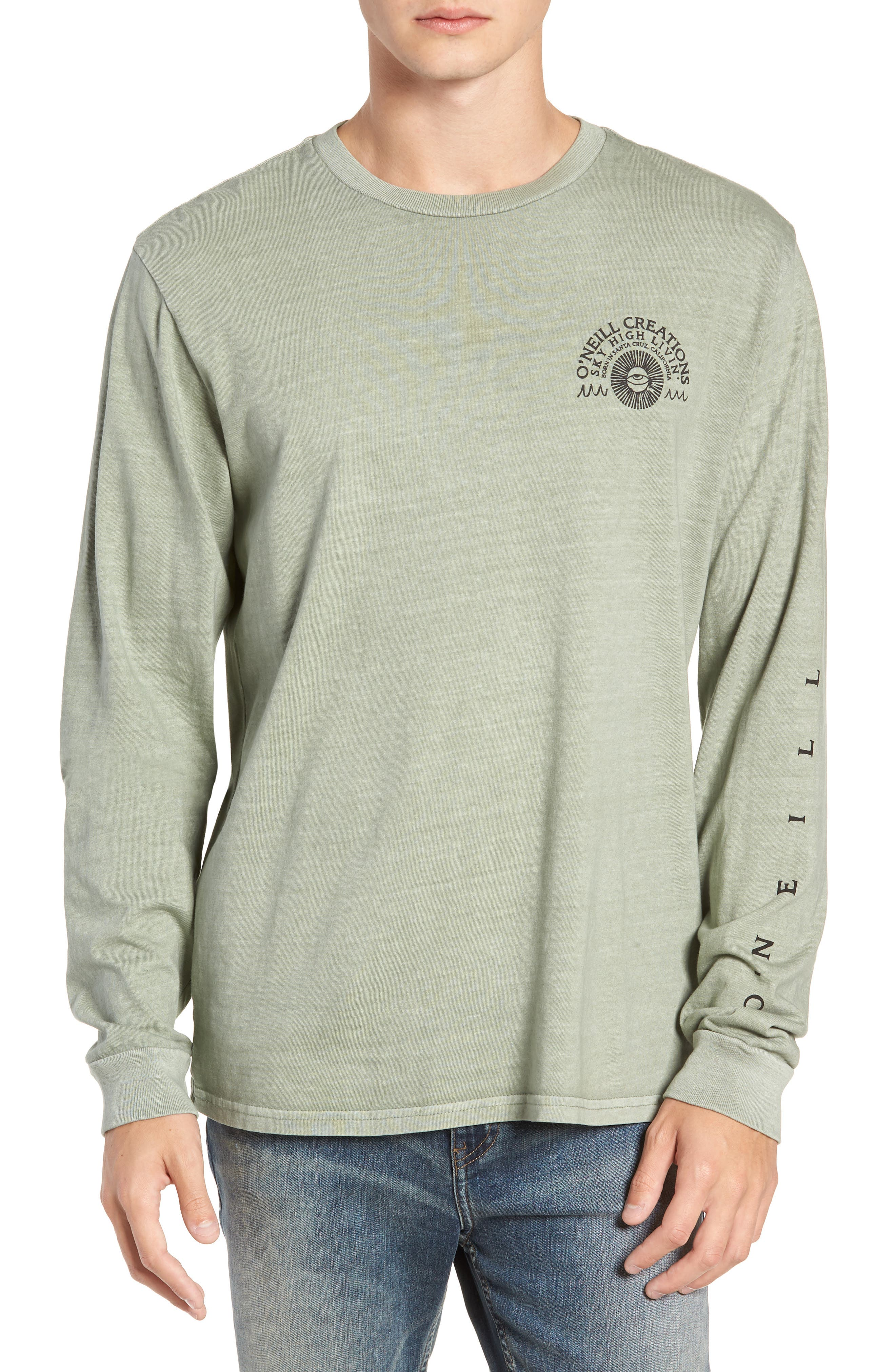 Sky High Graphic Long Sleeve T-Shirt,                         Main,                         color, SAGE