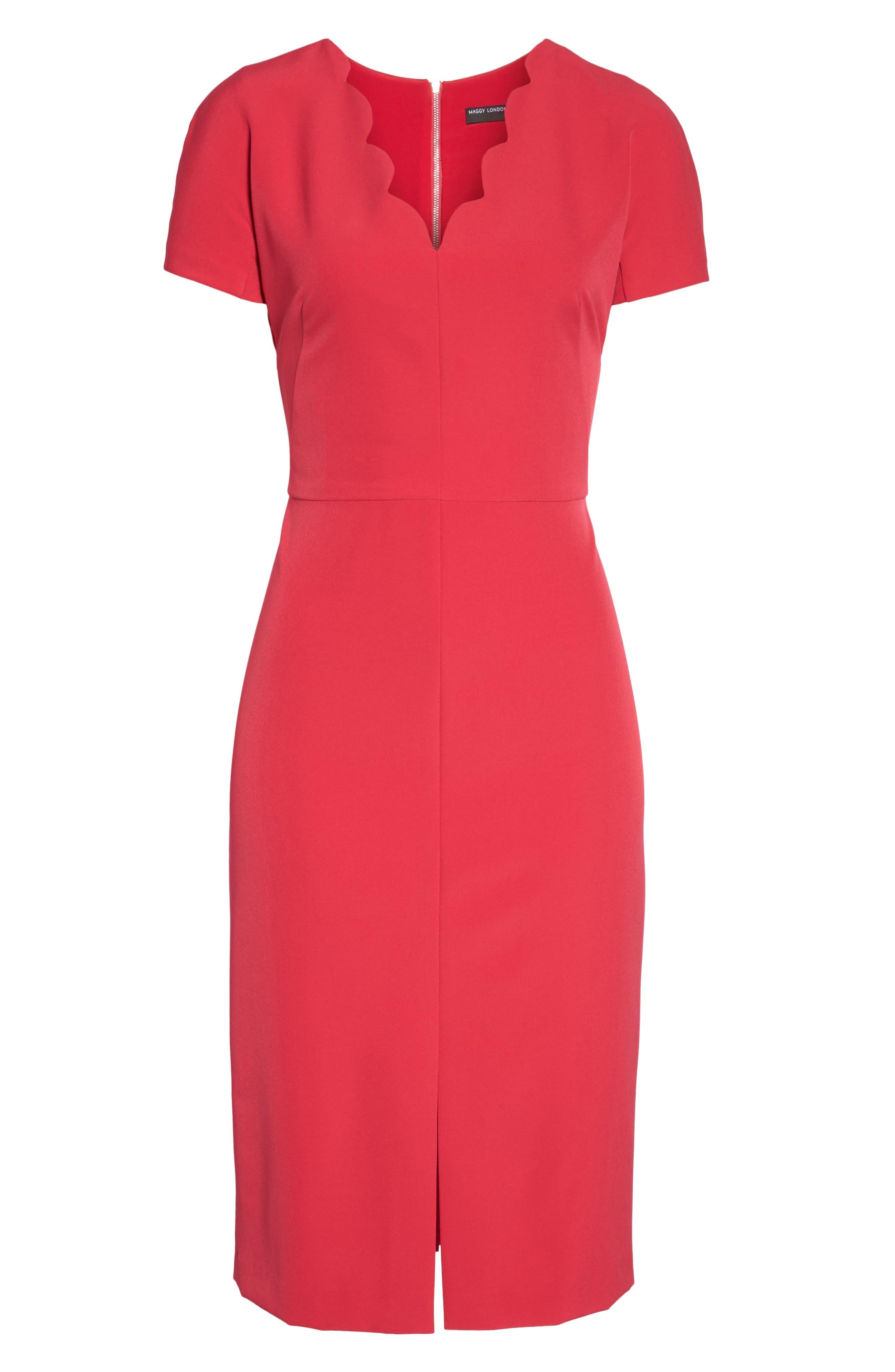 Scallop Sheath Dress,                             Alternate thumbnail 7, color,                             650