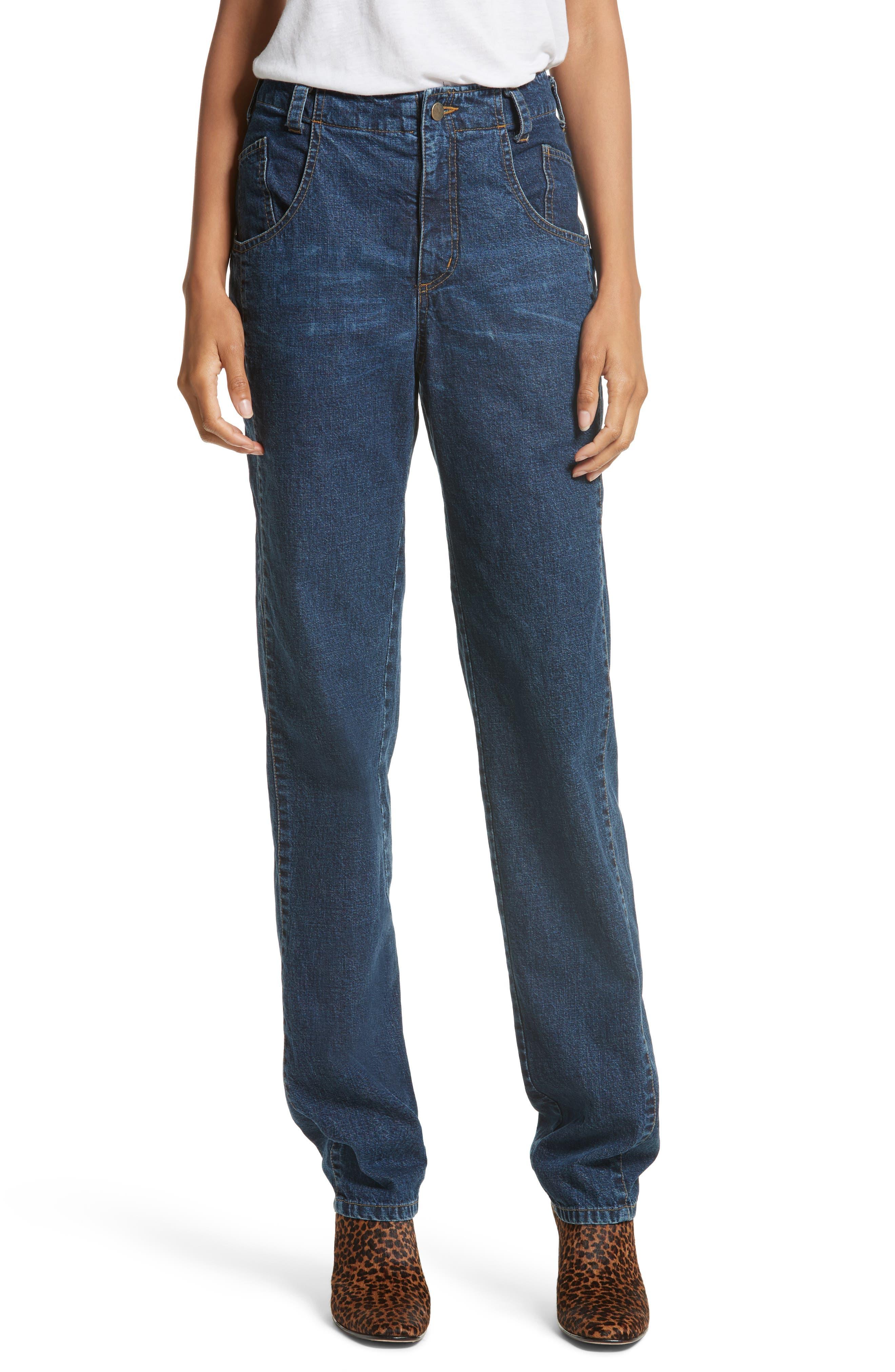 Long Trigger Straight Leg Jeans,                             Main thumbnail 1, color,                             420