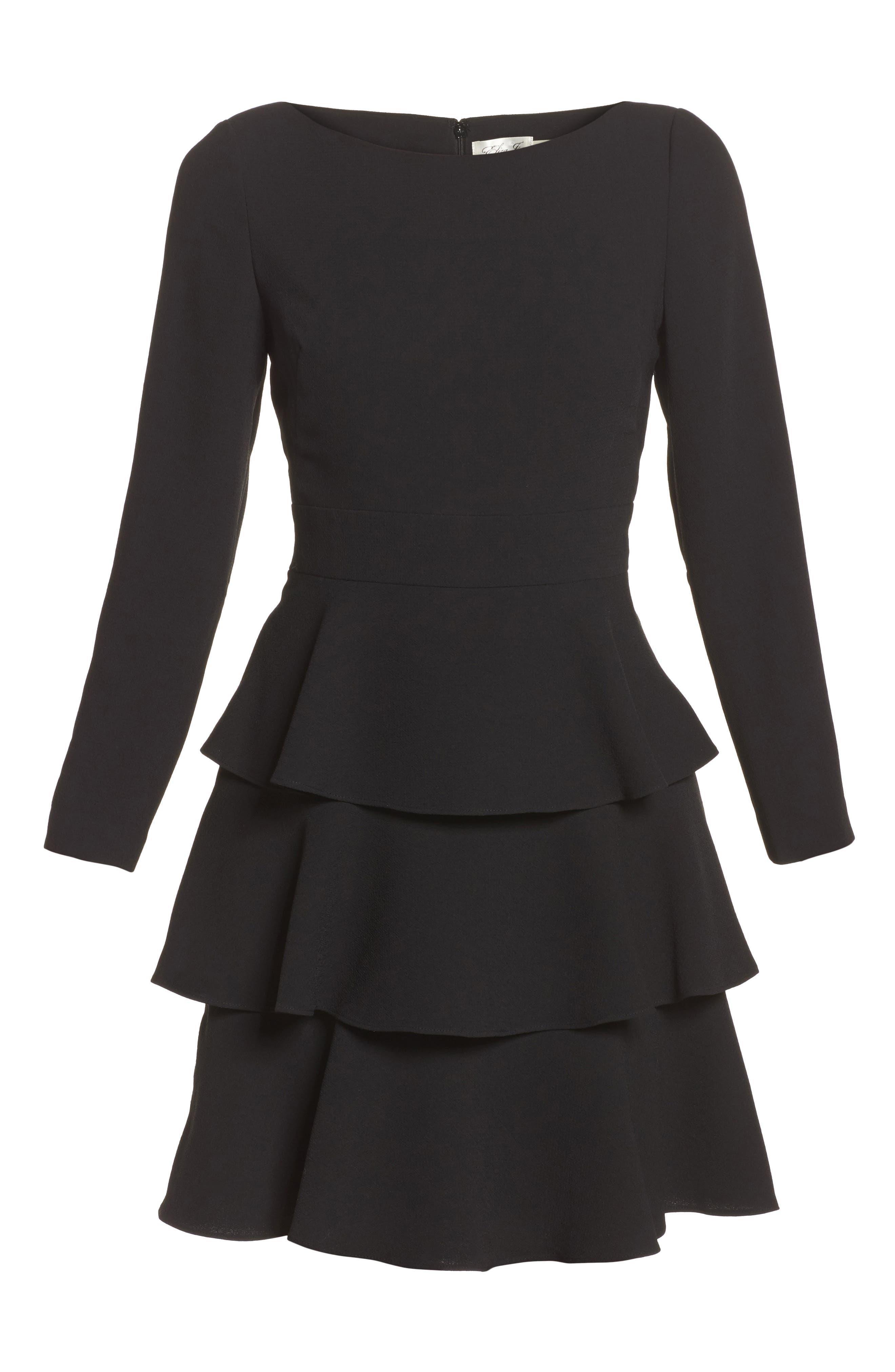 Ruffle Fit & Flare Dress,                             Alternate thumbnail 6, color,                             001