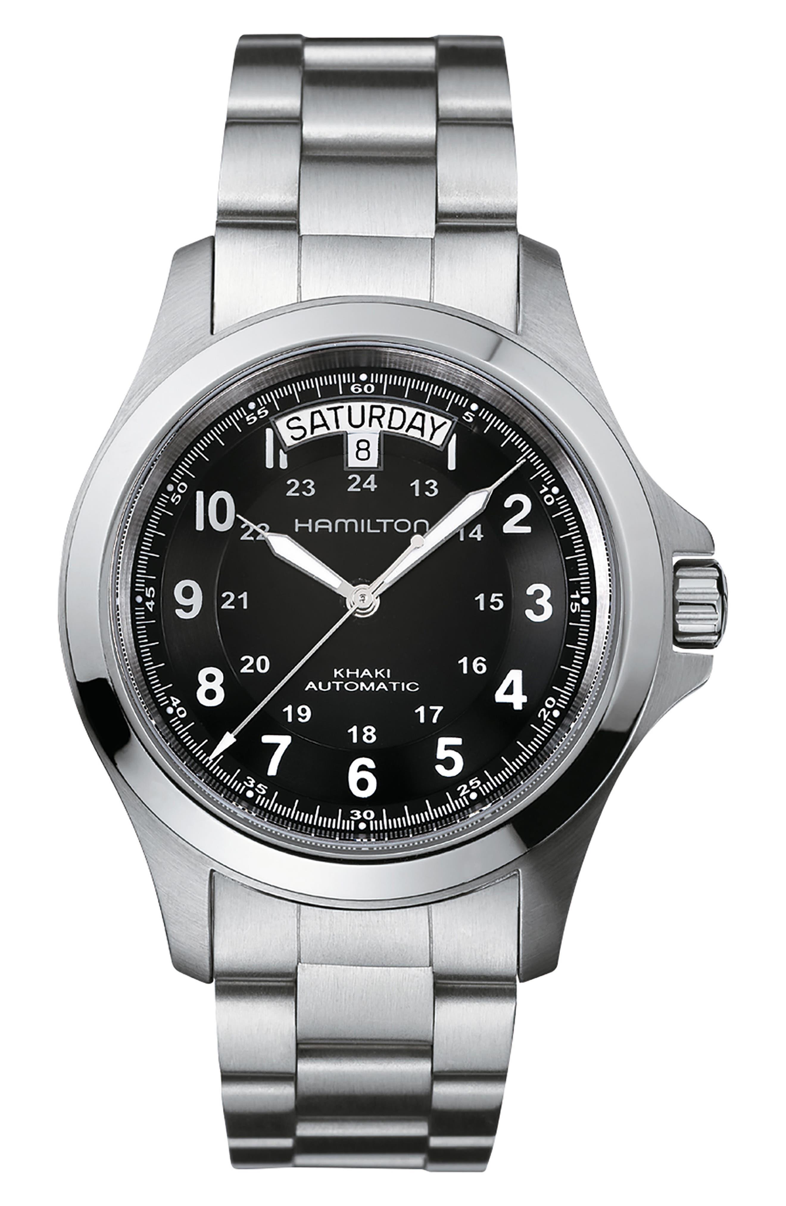 Khaki Field King Automatic Bracelet Watch, 40mm,                             Main thumbnail 1, color,                             SILVER/ BLACK/ SILVER