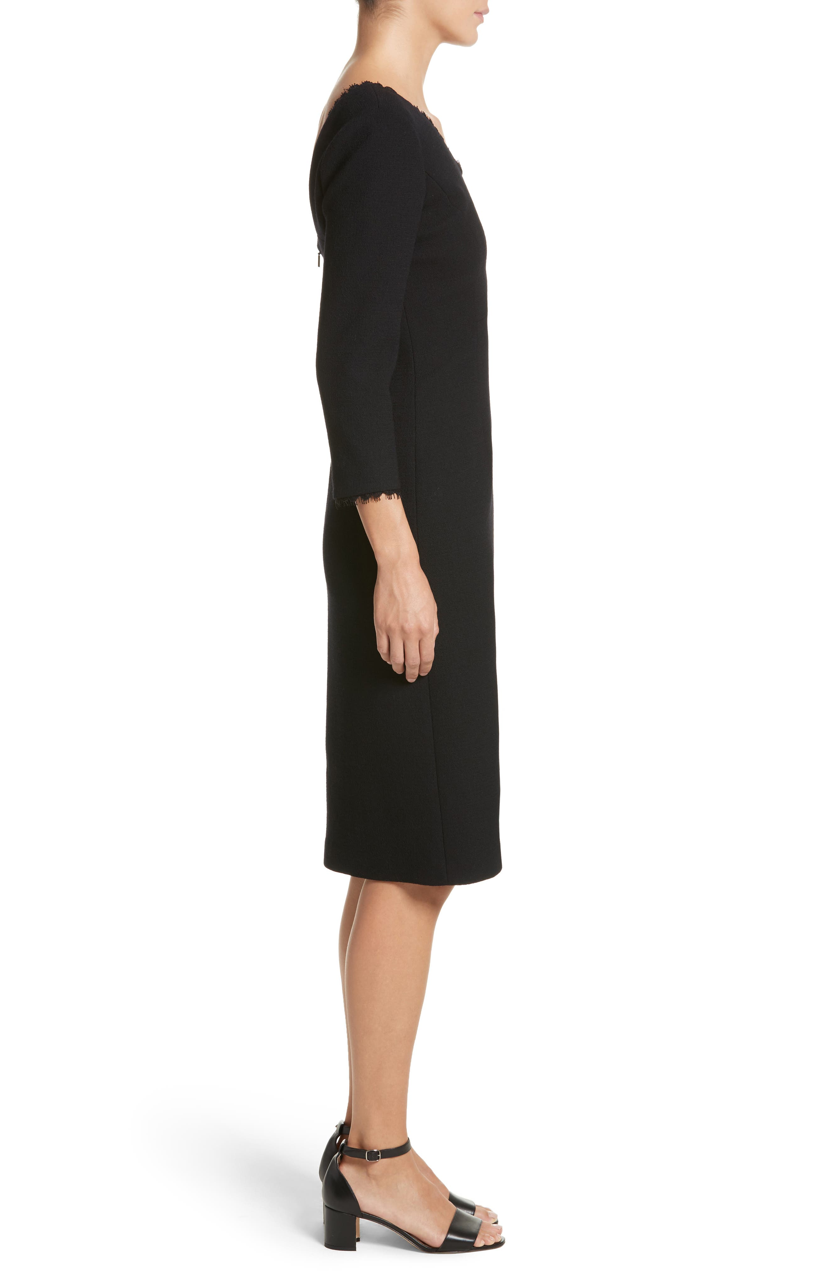 Shandy Lace Trim Wool Dress,                             Alternate thumbnail 3, color,                             001