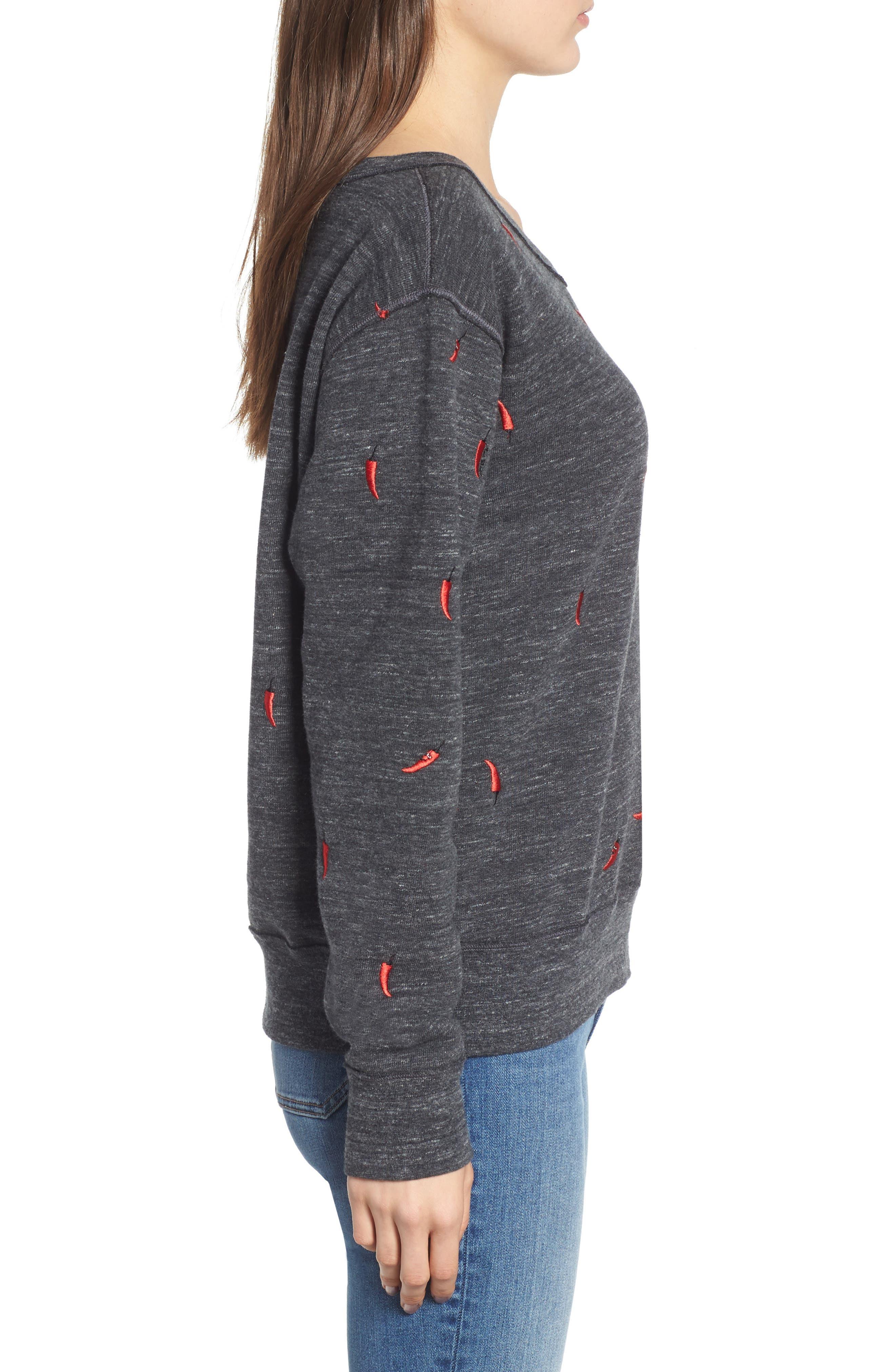 Chili Pepper Crewneck Sweatshirt,                             Alternate thumbnail 3, color,                             021