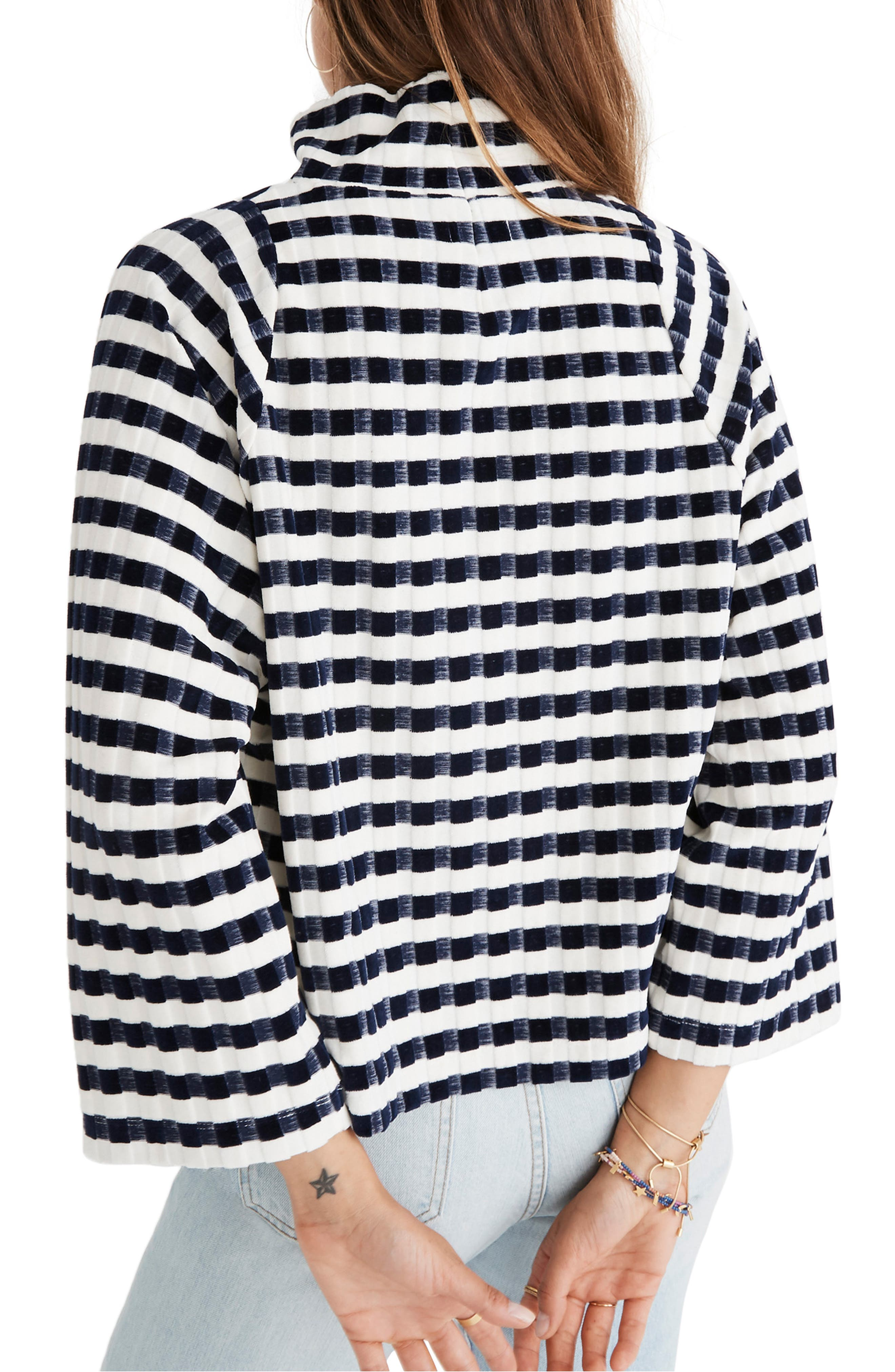 Texture & Thread Velvet Stripe Mock Neck Top,                             Alternate thumbnail 2, color,                             DEEP NAVY
