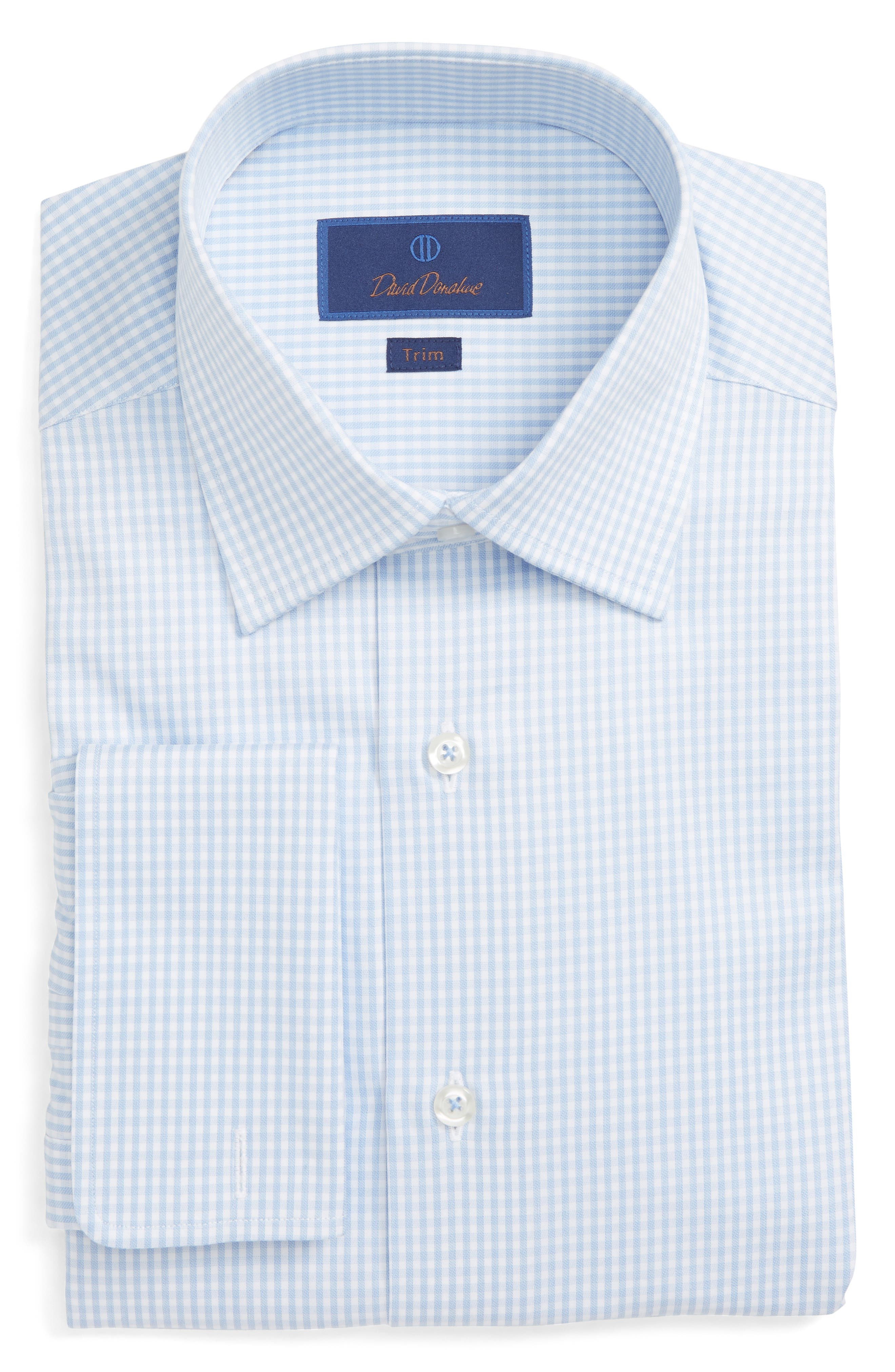 Men'S Trim-Fit Classic Gingham Dress Shirt With French Cuffs in Sky