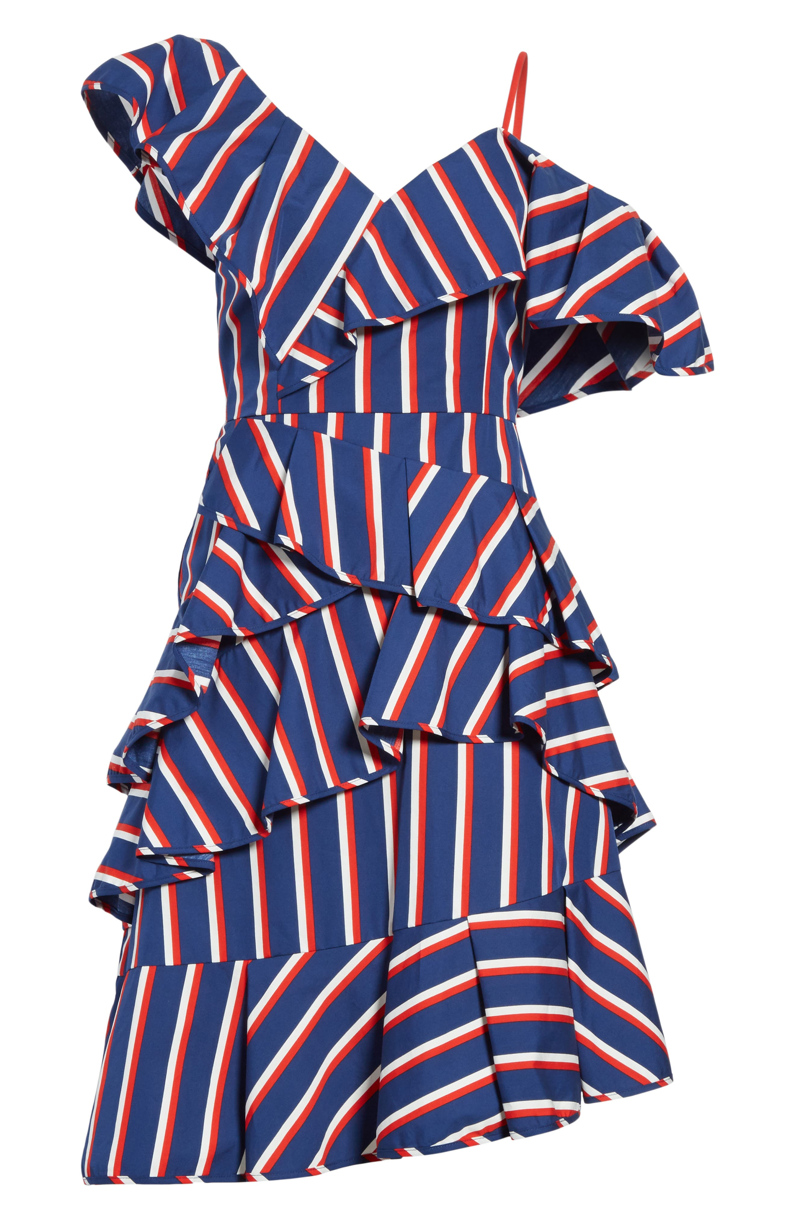 Laflora Aymmetrical Ruffle Midi Dress,                             Alternate thumbnail 6, color,                             475